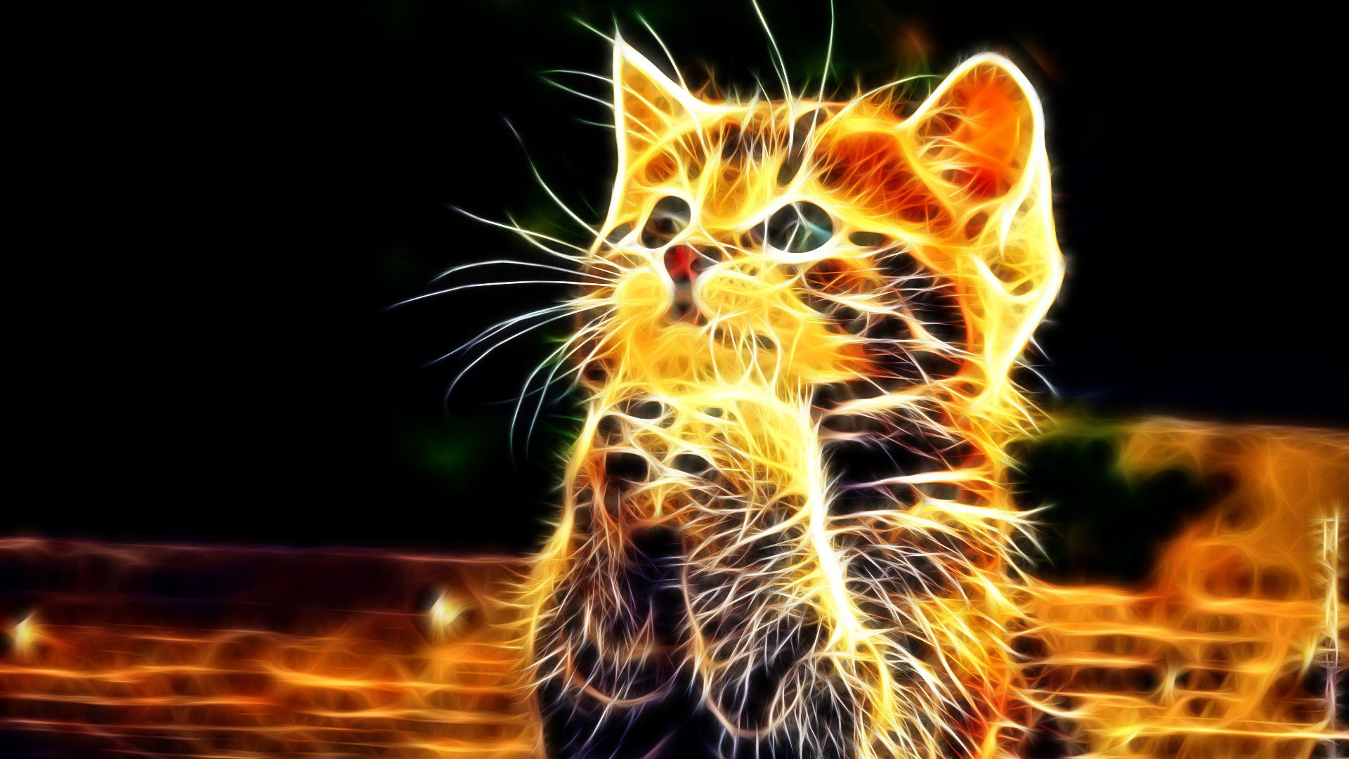 1920x1080 hd pics photos abstract 3d little cat n fire wallpaper