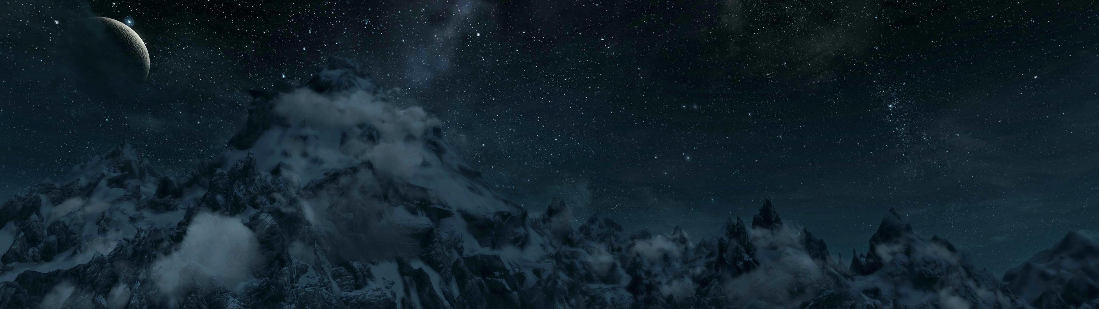 3840x1080 Skyrim Mountain Range Panorama Dual Screen Wallpaper I Made