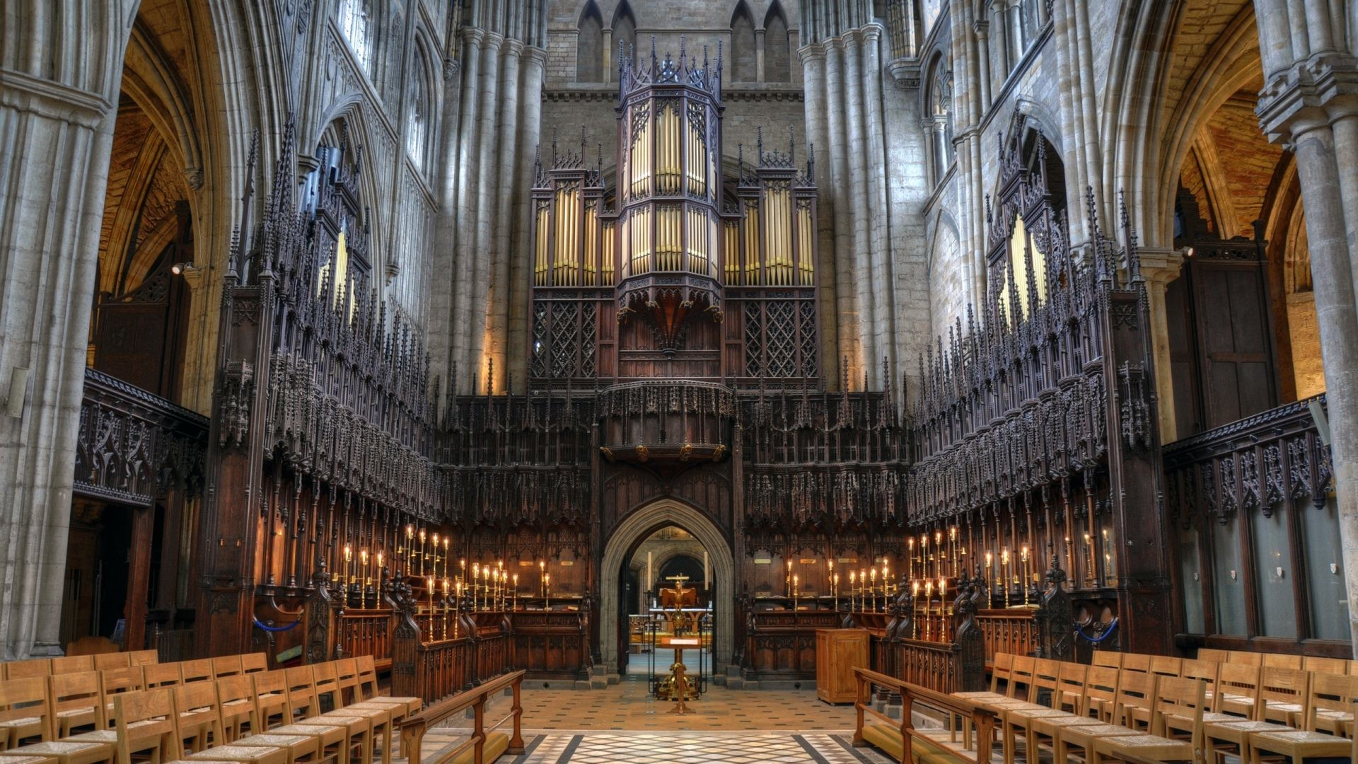 1920x1080 Medieval - Ripon Cathedral Choir Riponcathedralchoir Wide Stained Medieval  Glass Hall Organ Chairs Architecture HD Wallpapers