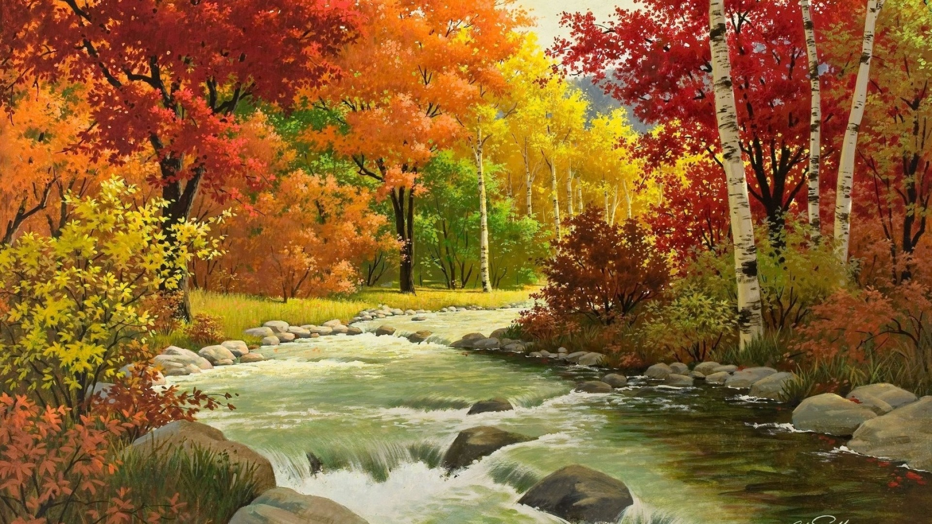 1920x1080 Preview wallpaper autumn, landscape, painting, river, wood
