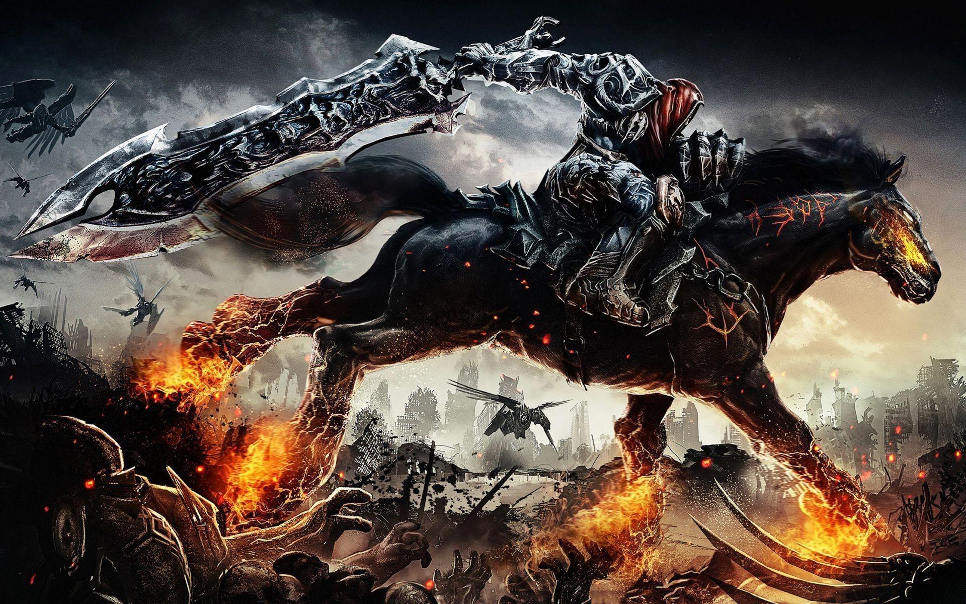 Beautiful 1920x1200 Fire Horse Dark Warrior Wallpaper #106005