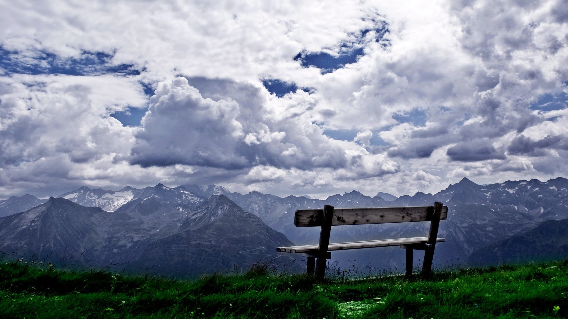 1920x1080 Scencery Peaceful Park Mountains White View Sky Green Reflection Beauty  Relax Blue Rest Break Nature Landscape Chair Grey Clouds Bench Scenic Hill  Grass ...
