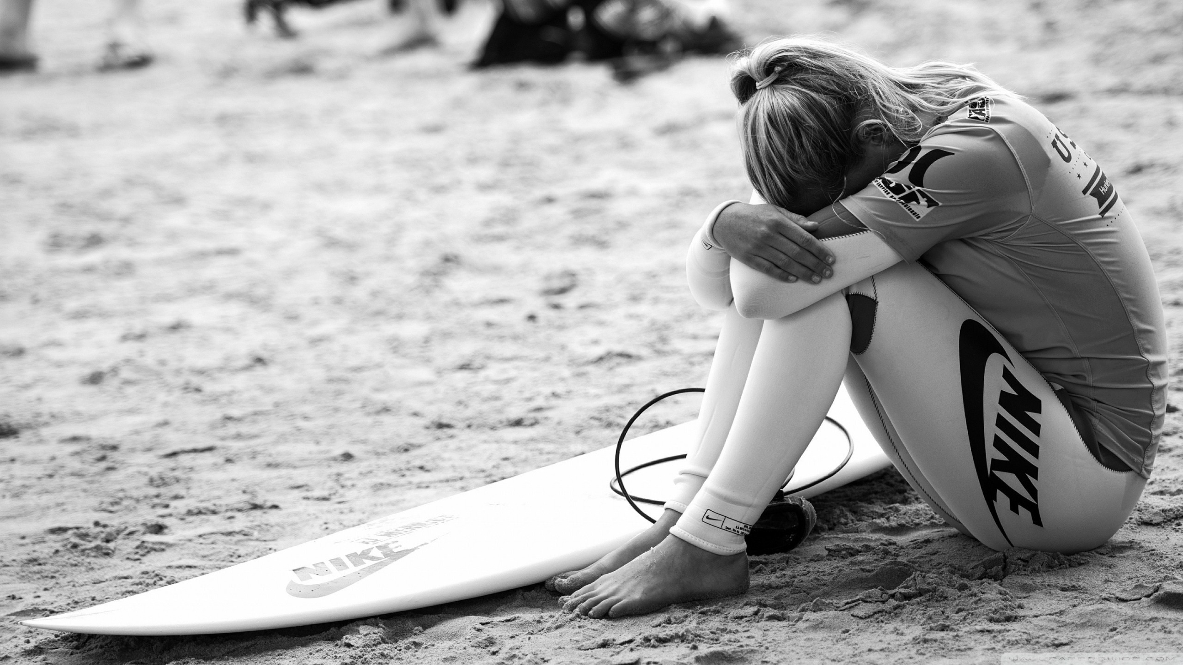 3840x2160 Preview wallpaper surfing, surfer, girl, sport, nike, bw