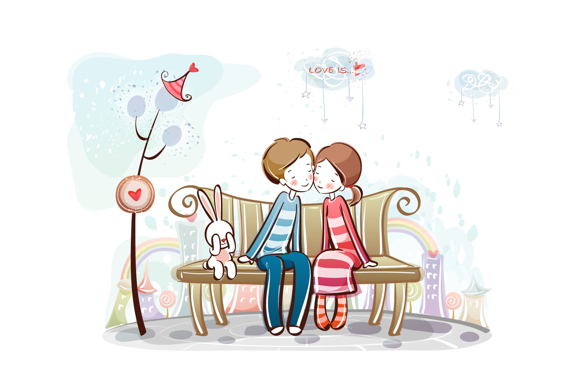 1920x1200 Young Love - Valentine Cute Couple illustrations - Sweet Couple on bench -  Valentine Couple, Valentine's Day illustrations 34