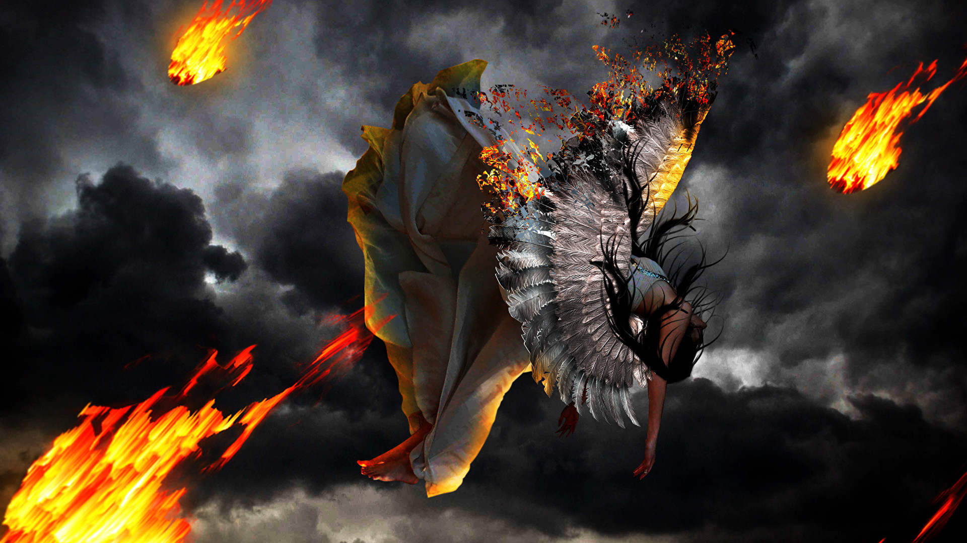 1920x1080 Wallpaper Falling Wings Girls Fantasy Flame Angels  fall down Fire