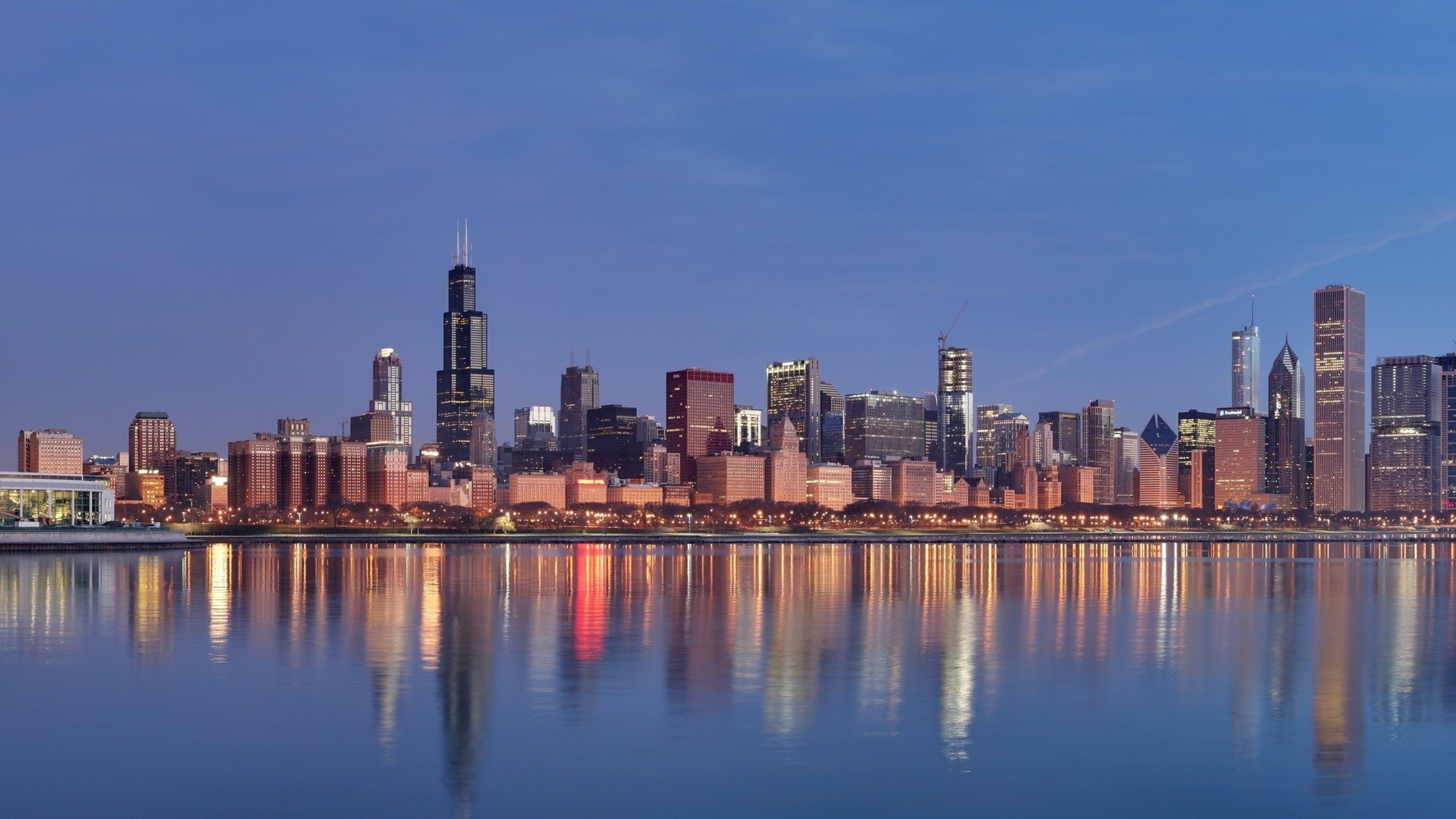 3840x2160 Preview wallpaper chicago, panorama, beach, building