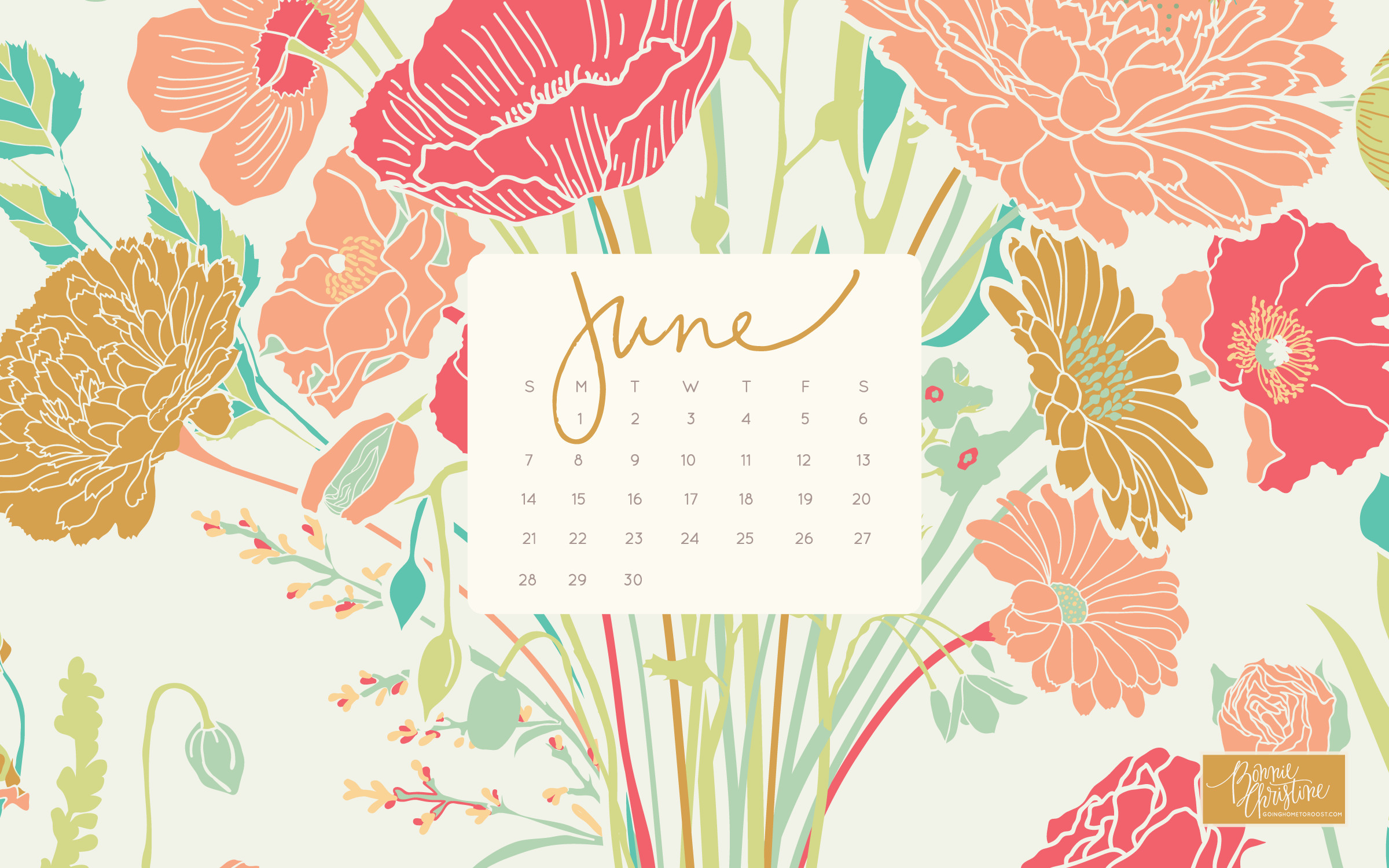 2400x1500 June 2015 Desktop + Smartphone Calendars