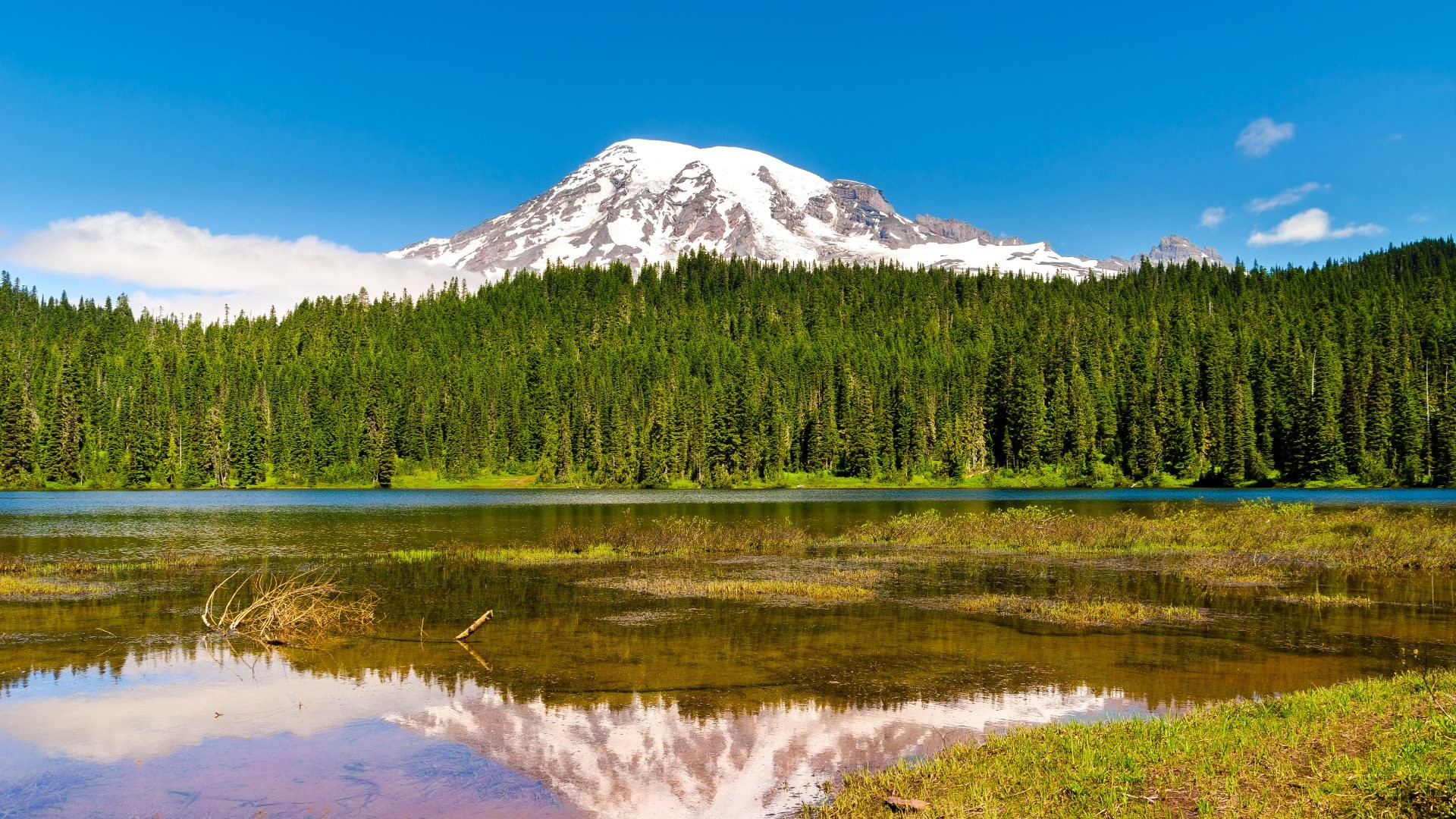 1920x1080 4K HD Wallpaper: Mount Rainier at southeast of Seattle