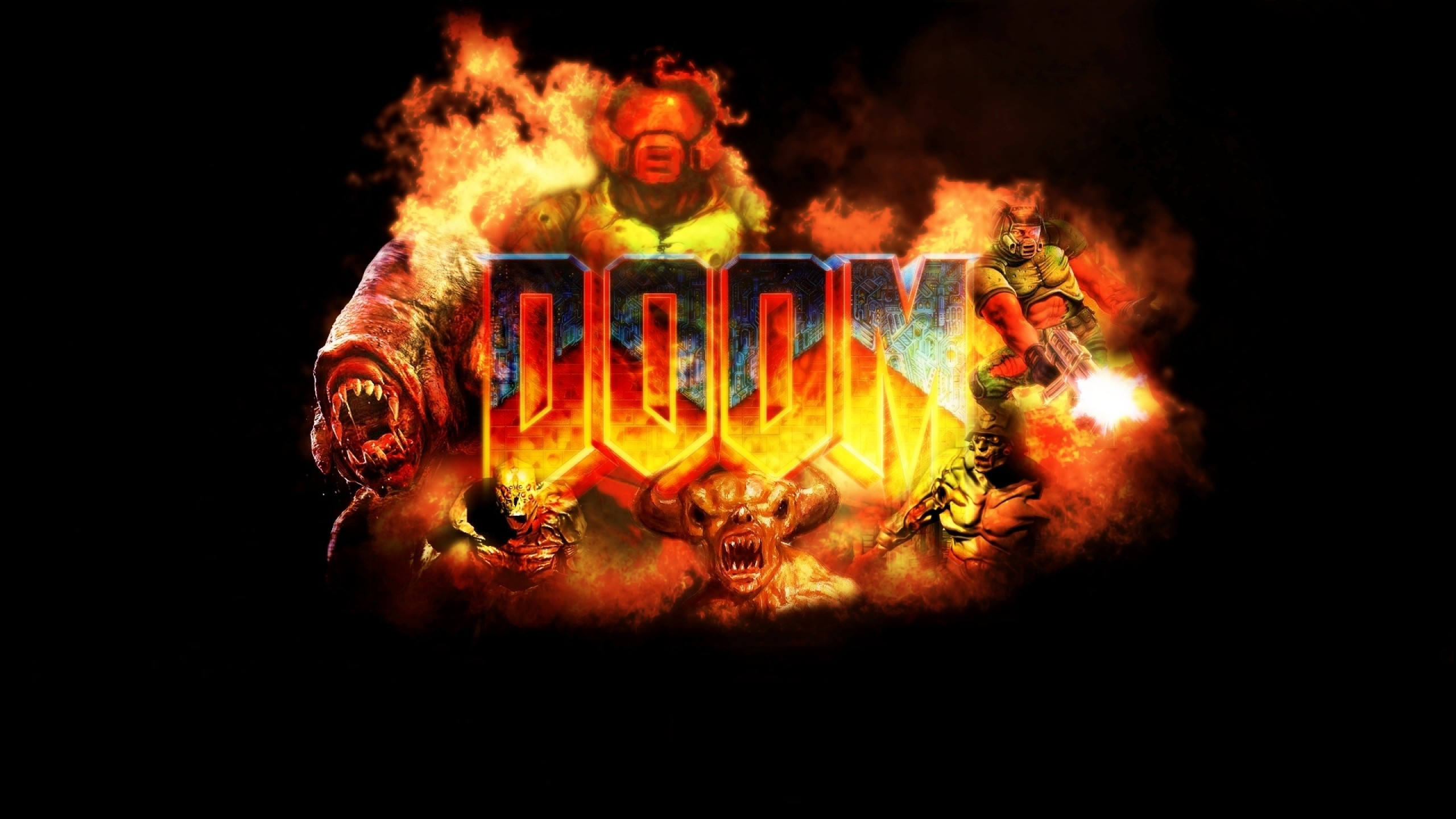 2560x1440  Wallpaper doom, game, logo, explosion, fire