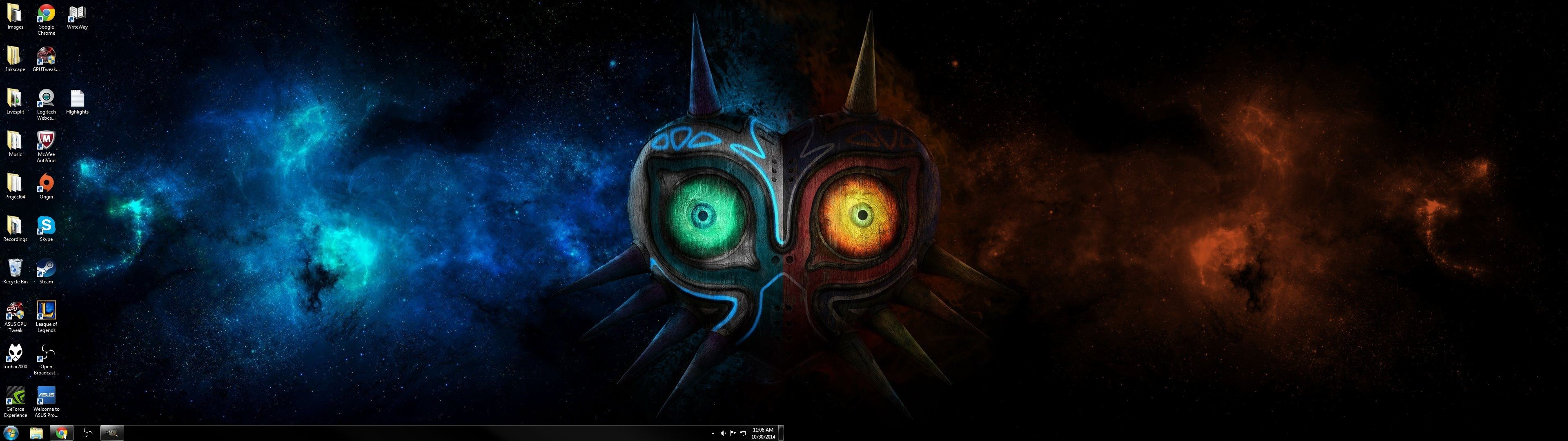 3840x1080 So I combined two desktops to make a dual monitor desktop. - Imgur