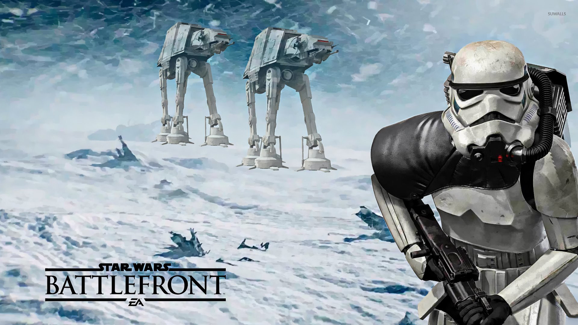 1920x1080 Stormtrooper and AT-ATs in Star Wars Battlefront wallpaper