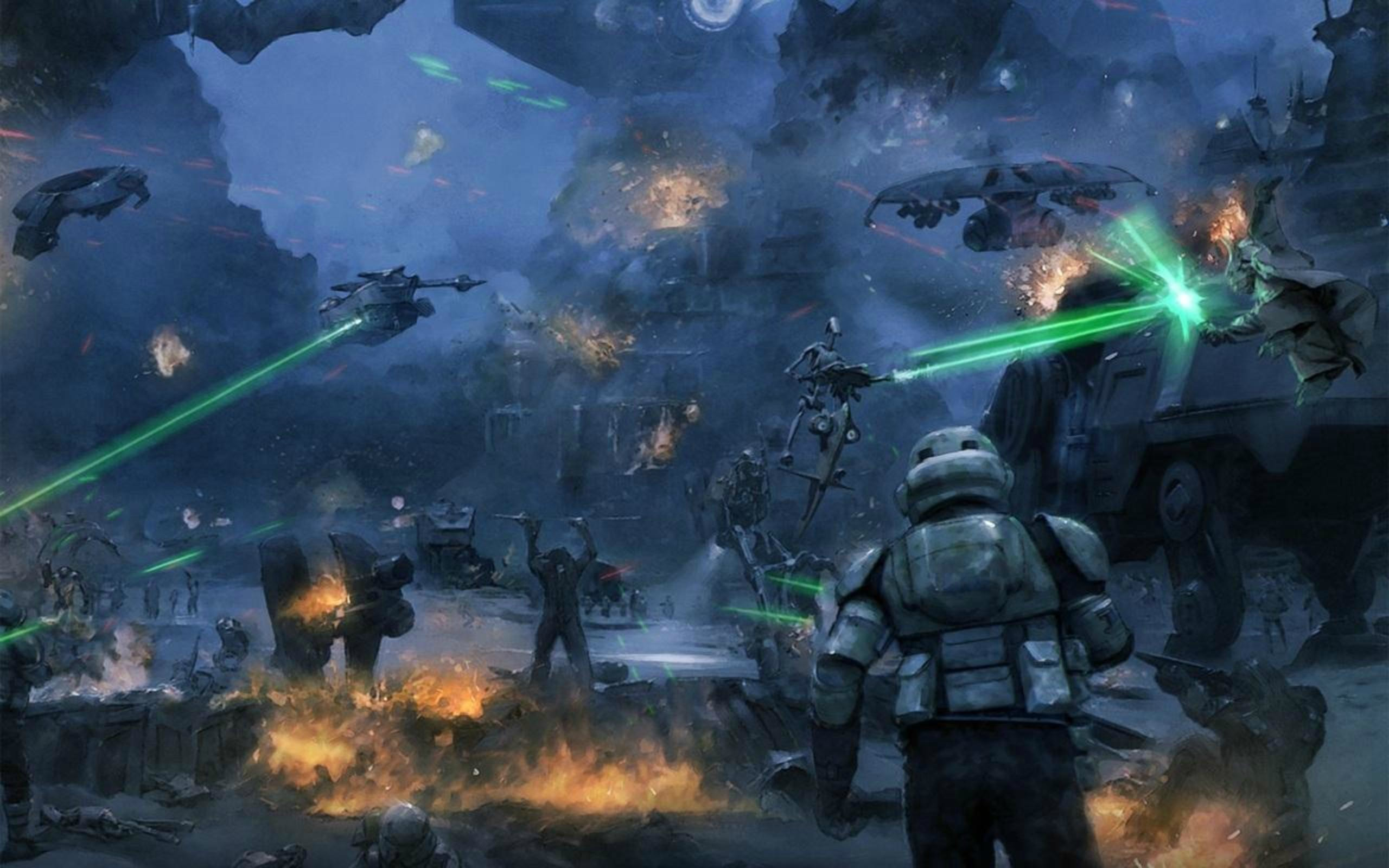 2560x1600 Part of the Battle of Kashyyyk. Two troopers of the 501st ...