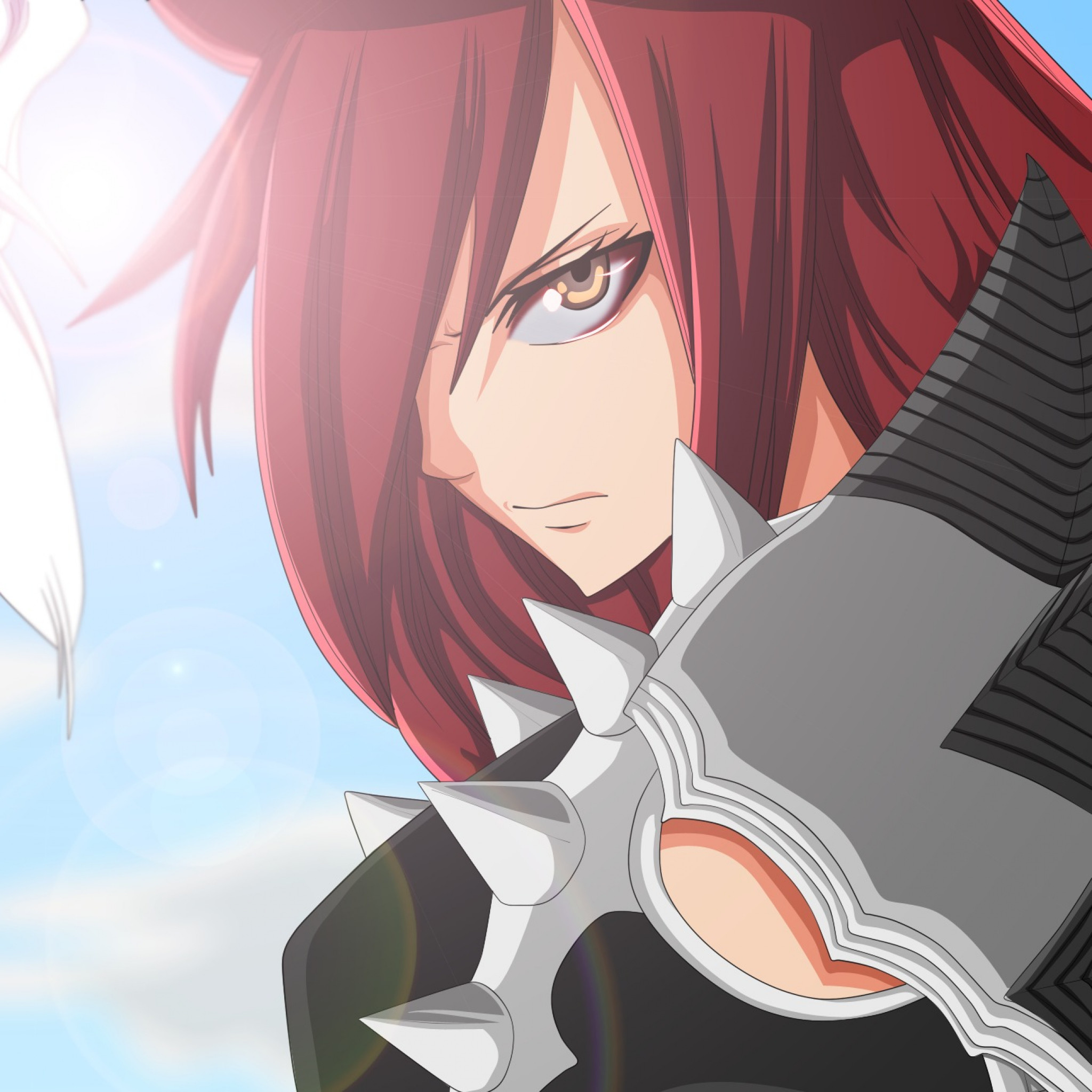 2048x2048  Wallpaper fairy tail, erza scarlet, mirajane strauss, face,  anime, girl