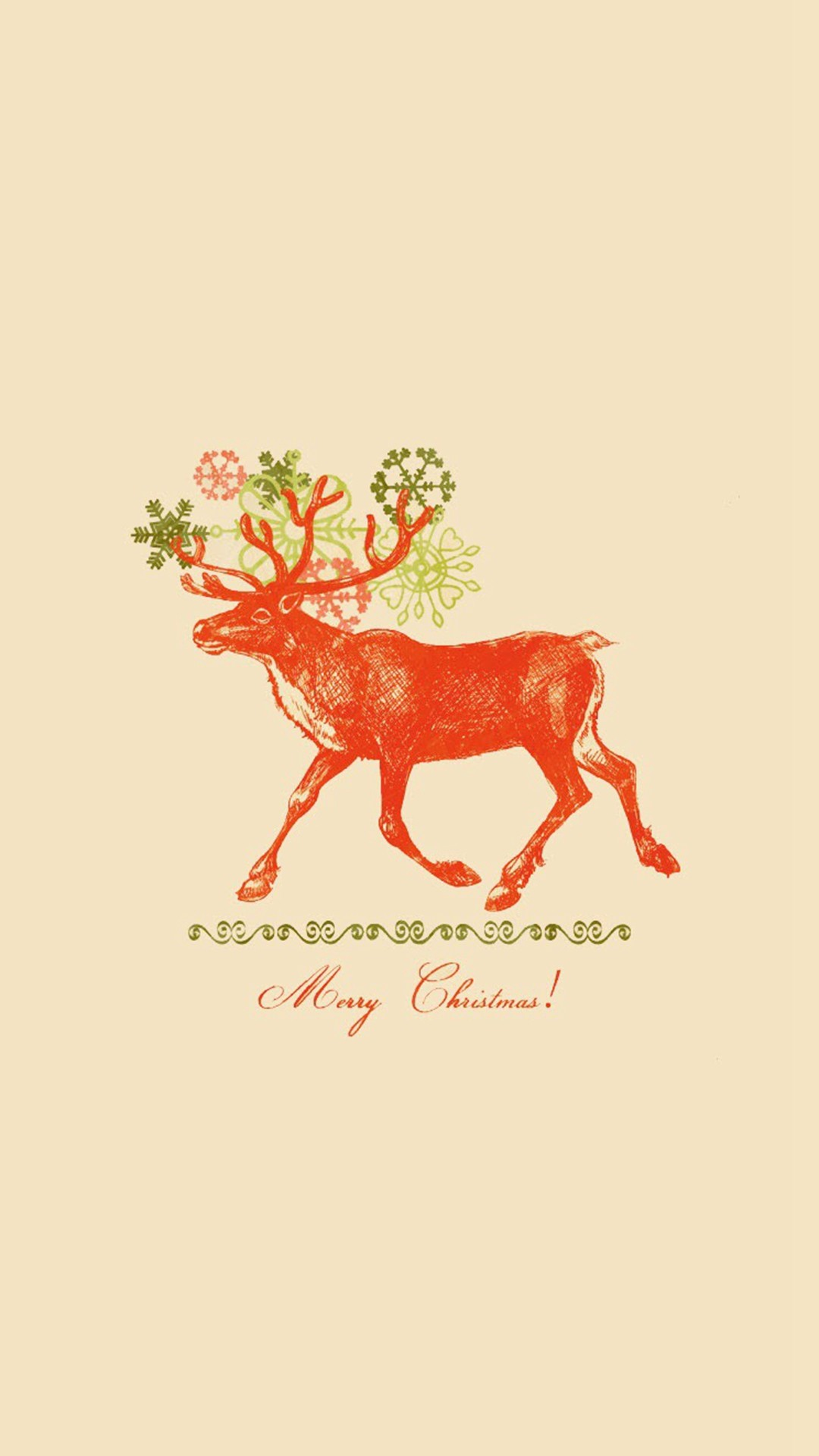 1080x1920 Merry Christmas Vintage Reindeer Illustration iPhone photos.