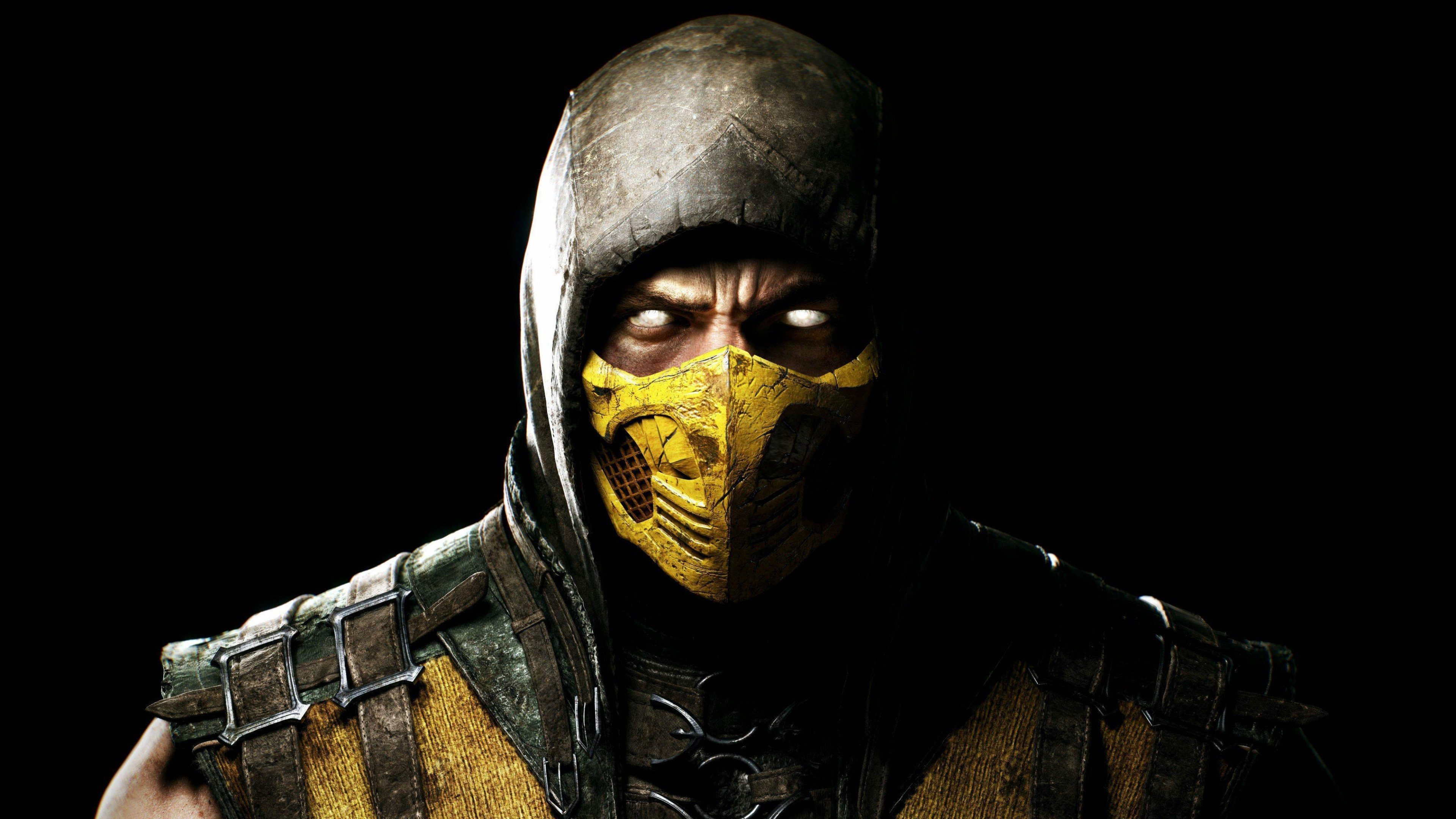 3840x2160 Preview wallpaper mortal kombat x, scorpio, ninja, mask