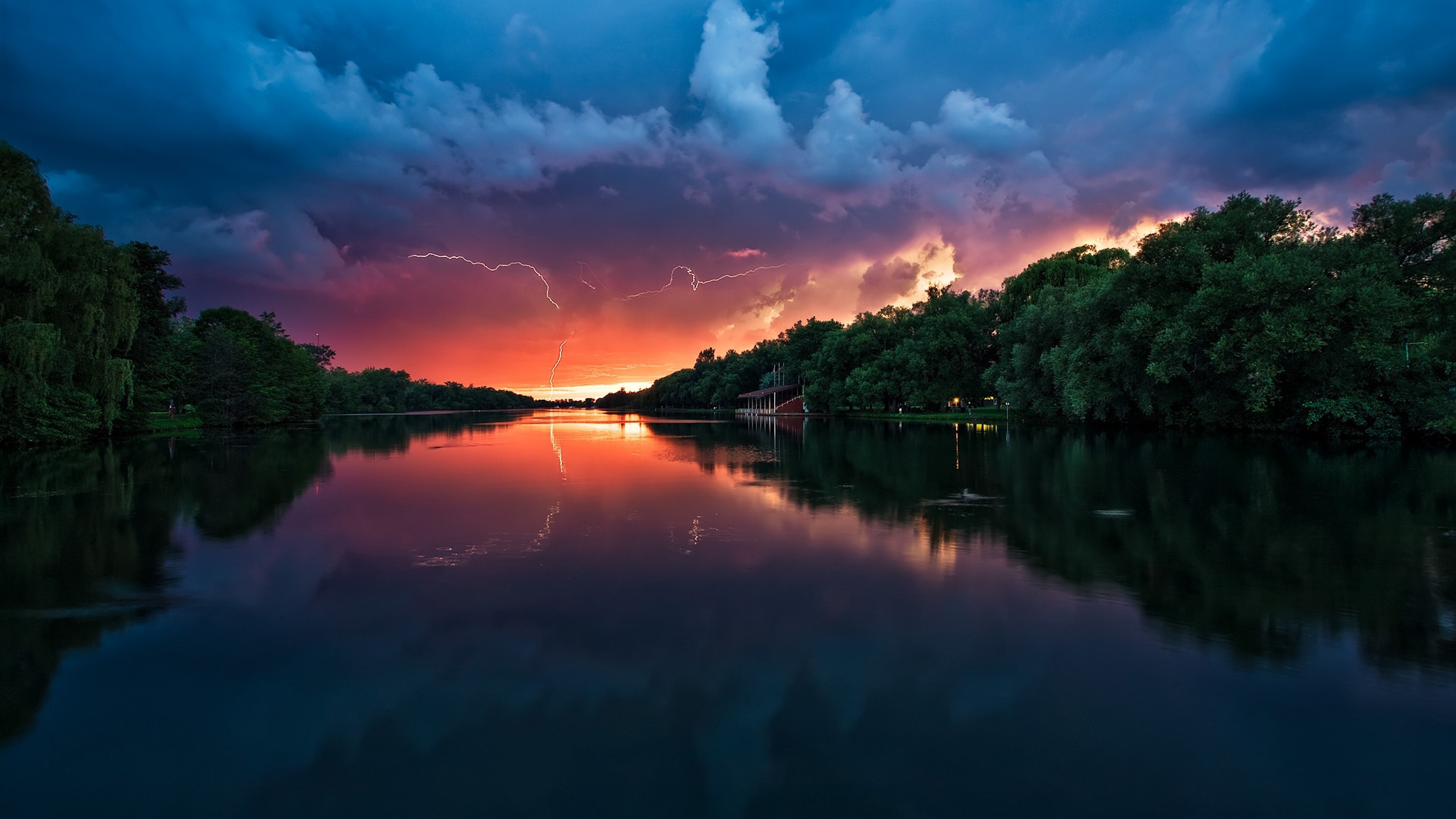 3840x2160 Preview wallpaper clouds, thunder-storm, river, reflection, lightning,  trees