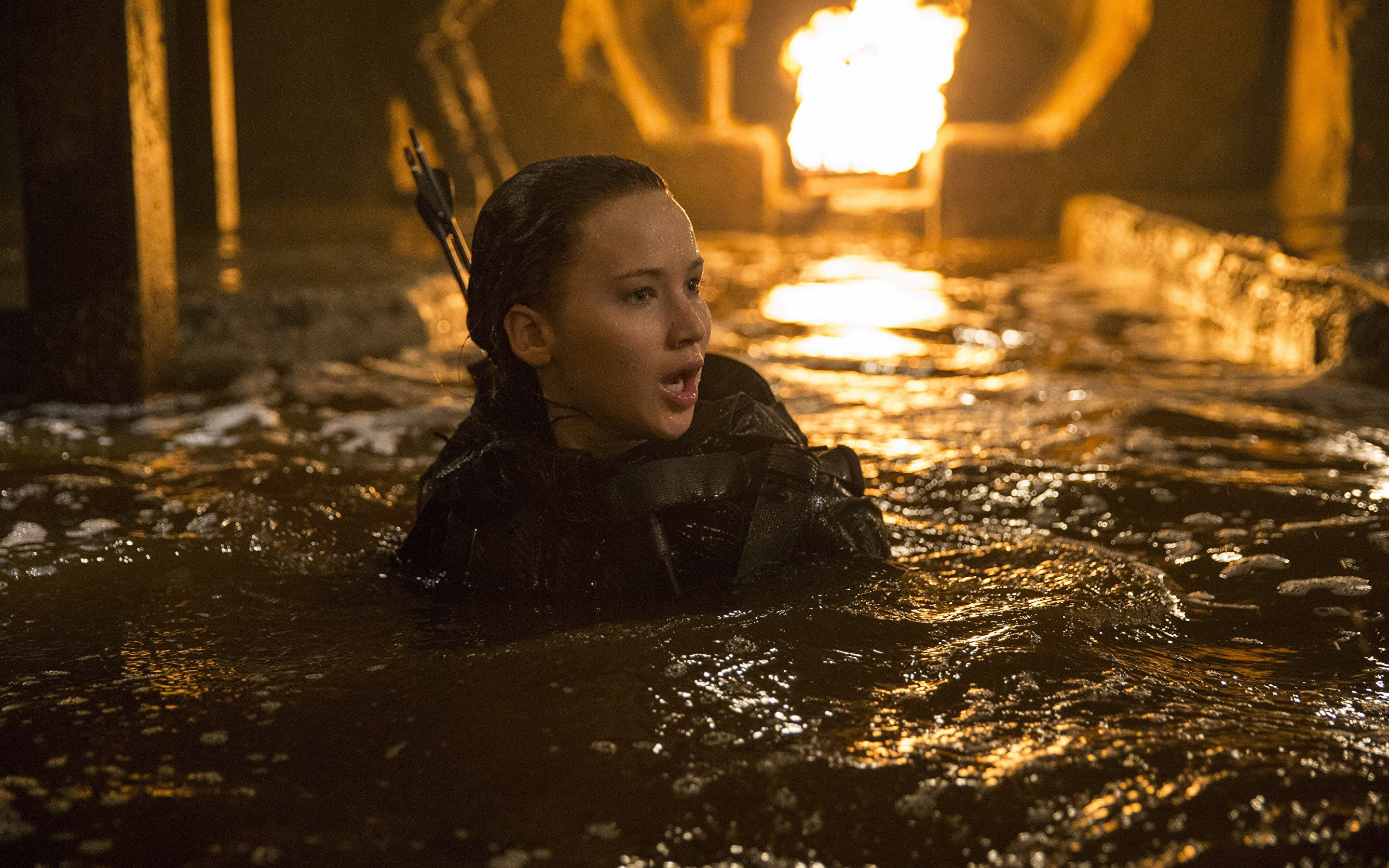 2880x1800 Wallpapers The Hunger Games Jennifer Lawrence Mockingjay - Part 2 Girls  Movies Water Celebrities