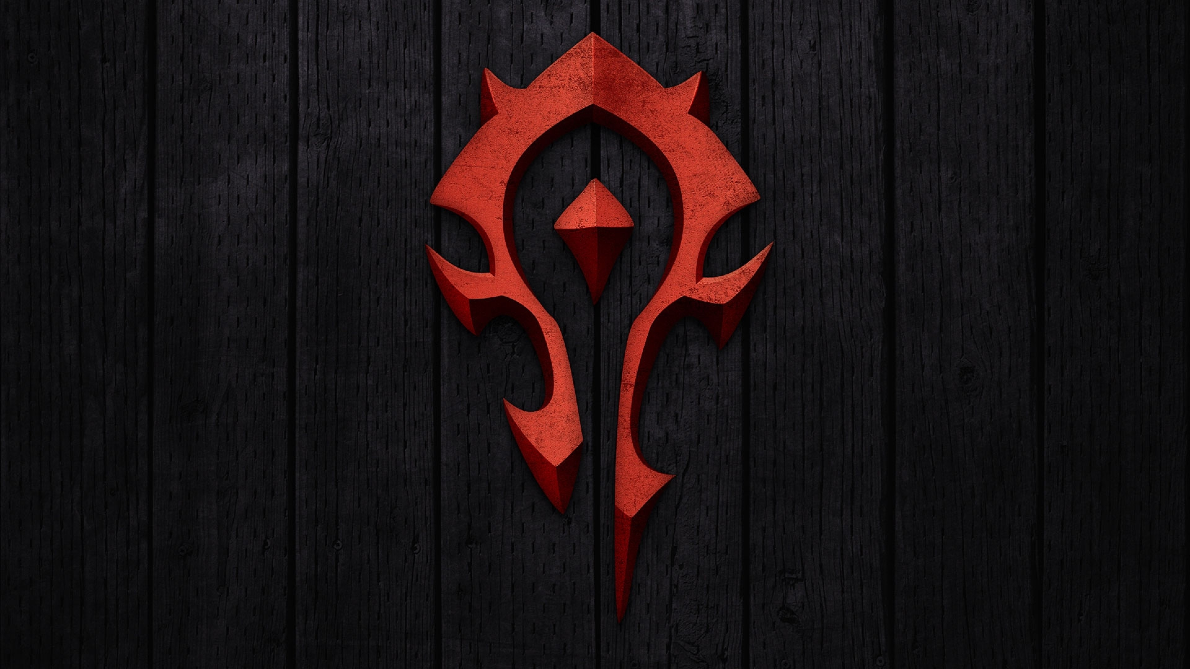 3840x2160 Preview wallpaper world of warcraft, horde, symbol, background, red