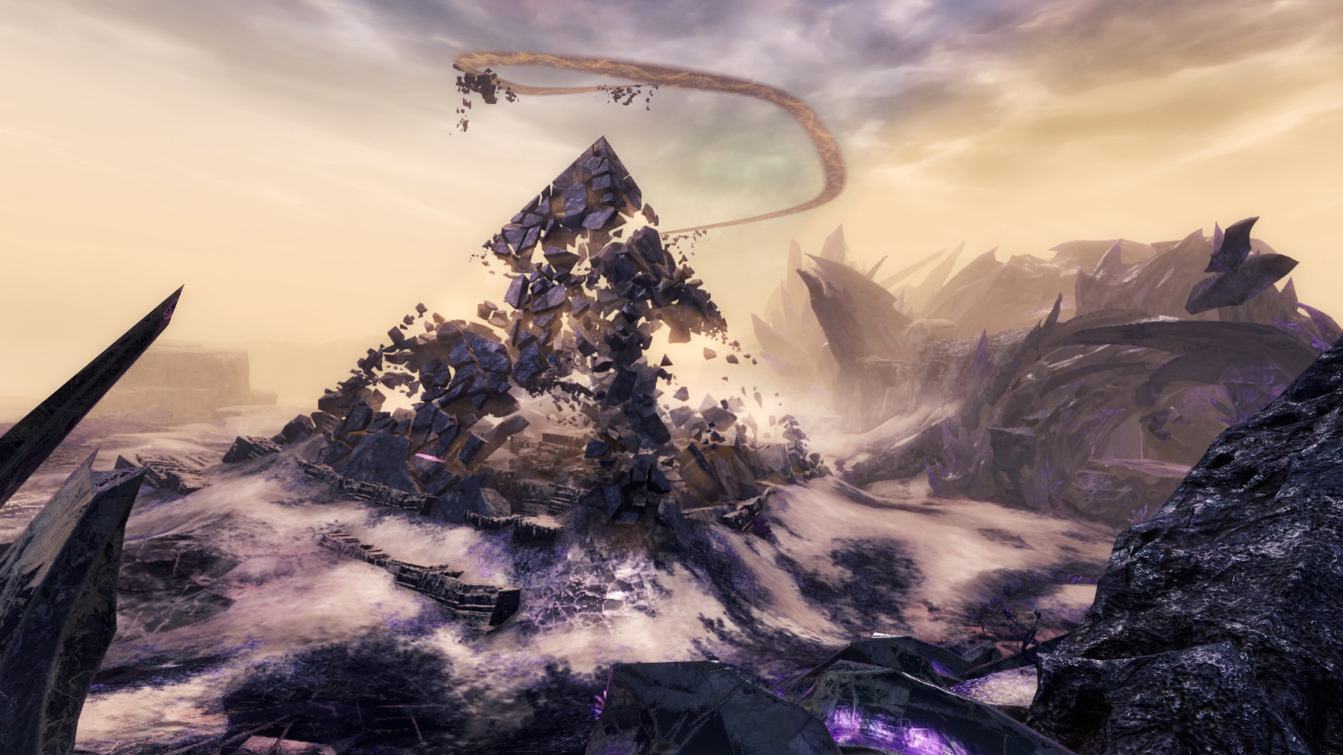 1920x1080 This screenshot from Guild Wars 2 shows the remnants of a pyramid-like  structure that