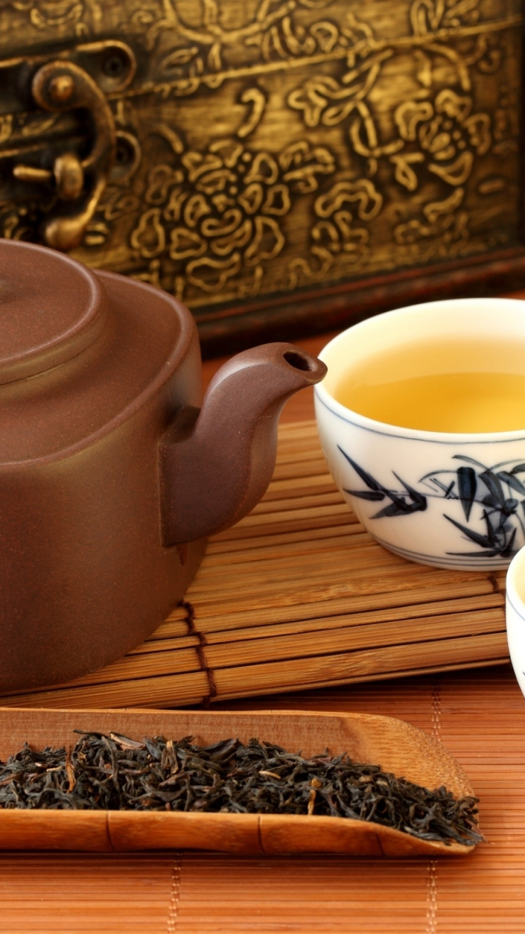 1080x1920  Wallpaper tea, teapot, tea leaves, service, chinese, hieroglyphs,  chest