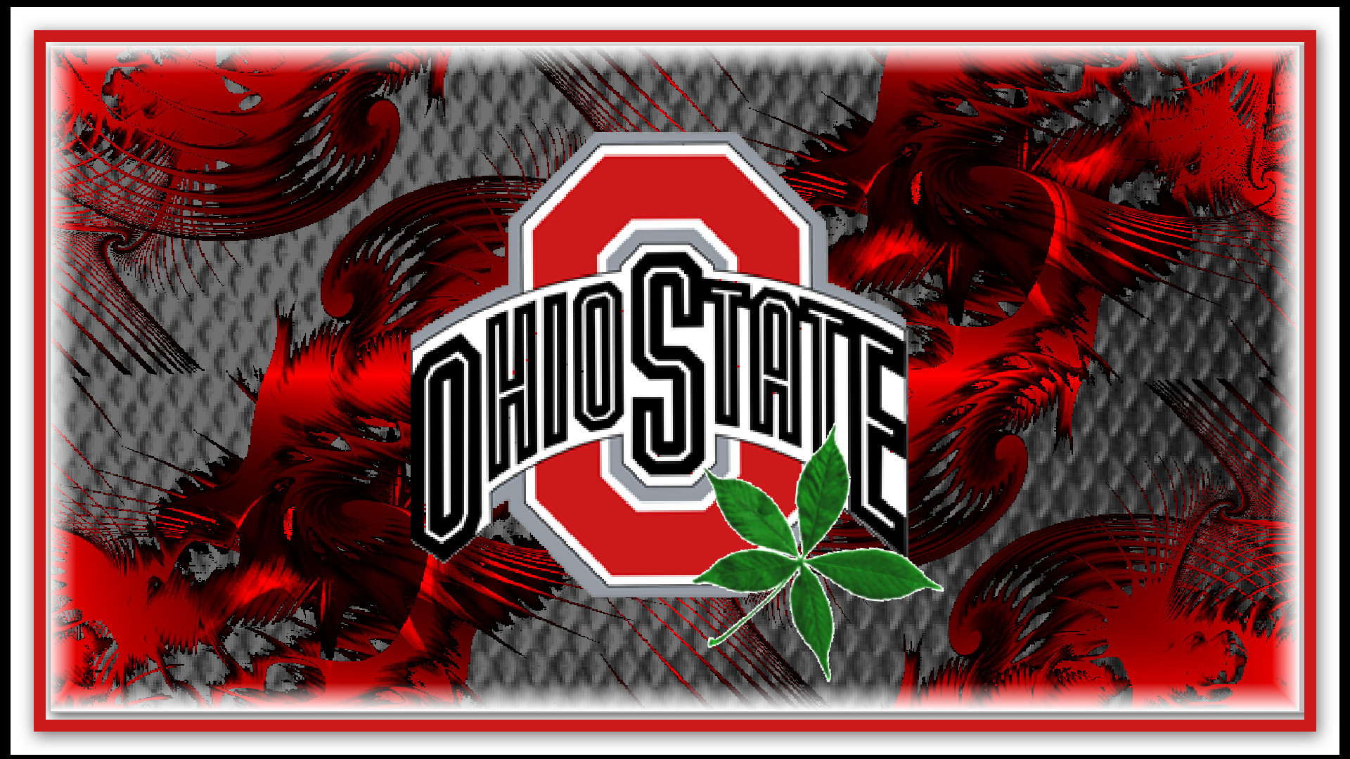 1920x1080 Ohio State Football Wallpaper: red block o ohio state with buckeye leaf