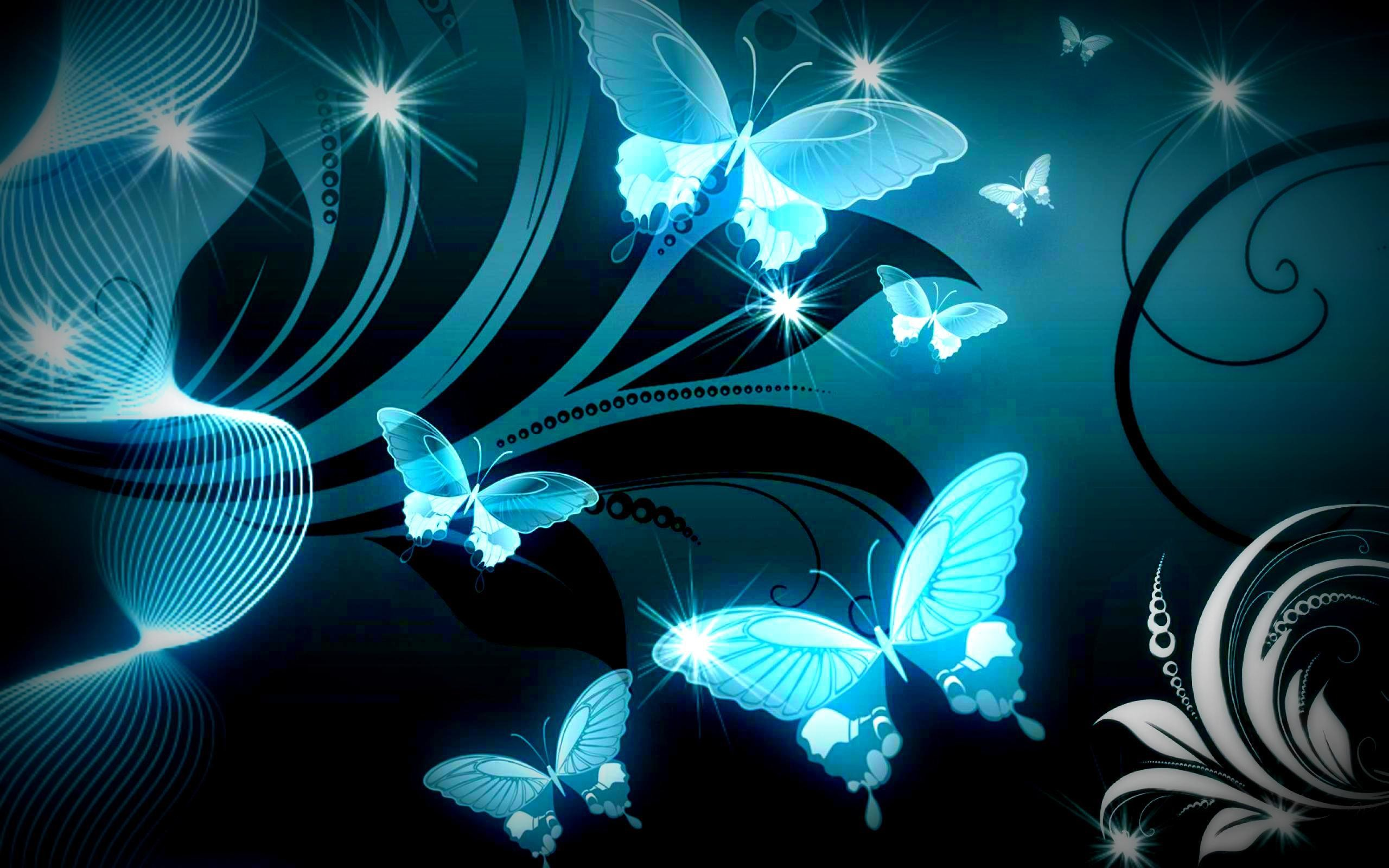 2560x1600 SPARKLE BLUE BUTTERFLIES WALLPAPER