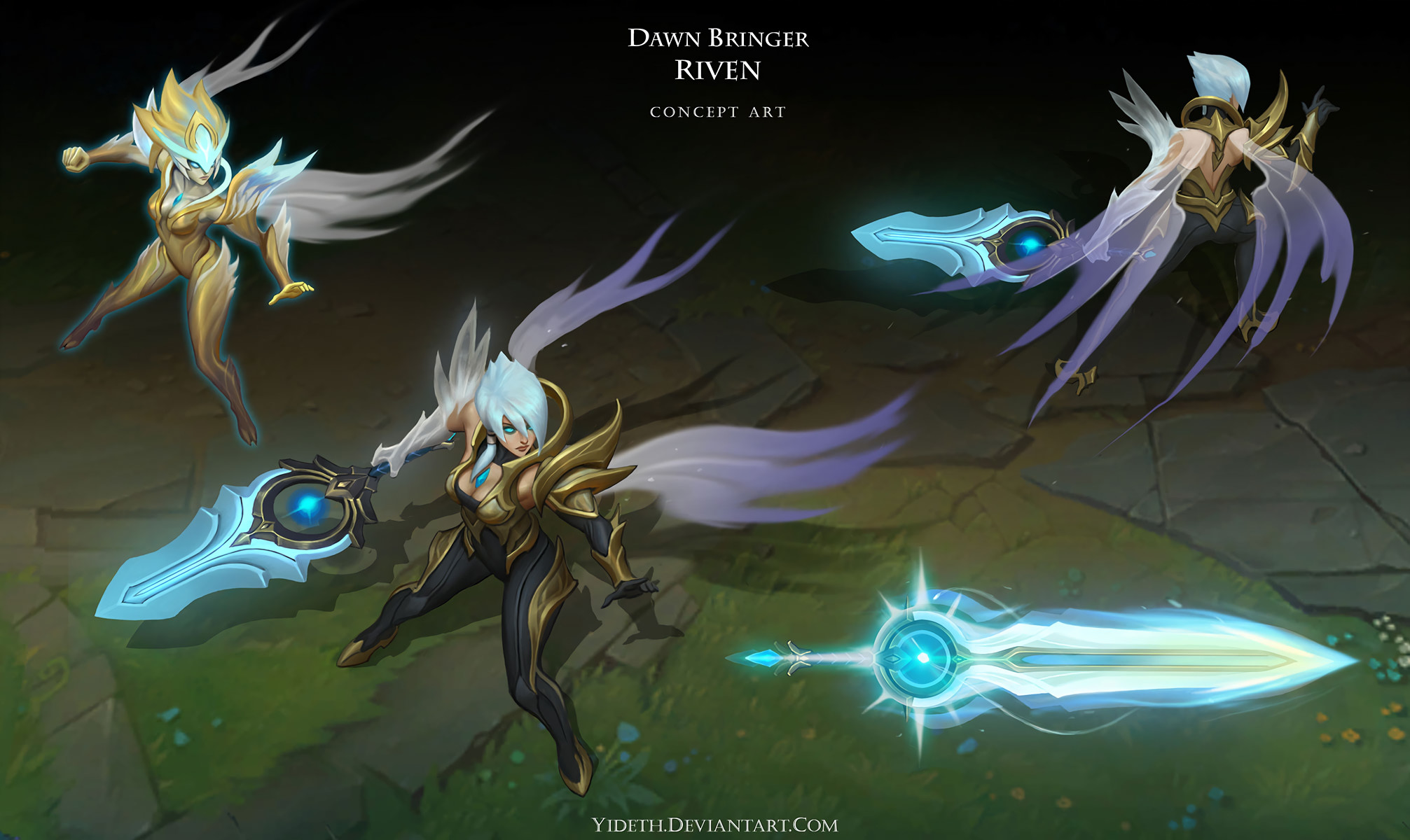 2013x1200 Dawnbringer Riven Concept by yideth HD Wallpaper Background Official Art  Artwork League of Legends lol