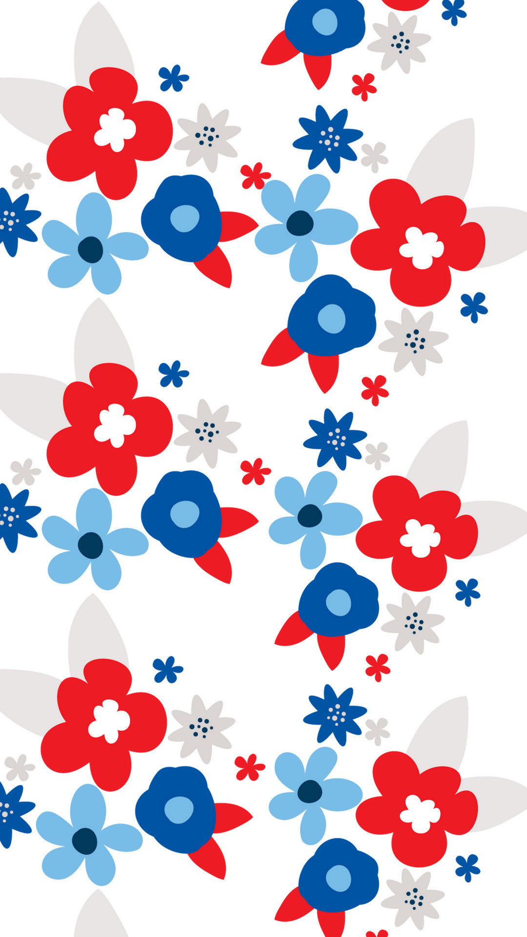 1080x1920 Red White and Blue Floral Smart Phone Wallpaper