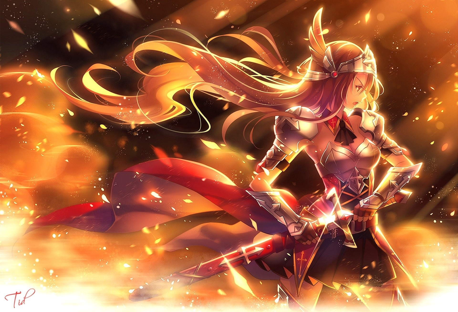 1920x1311 Anime - Original Blonde Armor Sword Anime Woman Warrior Girl Long Hair  Wallpaper