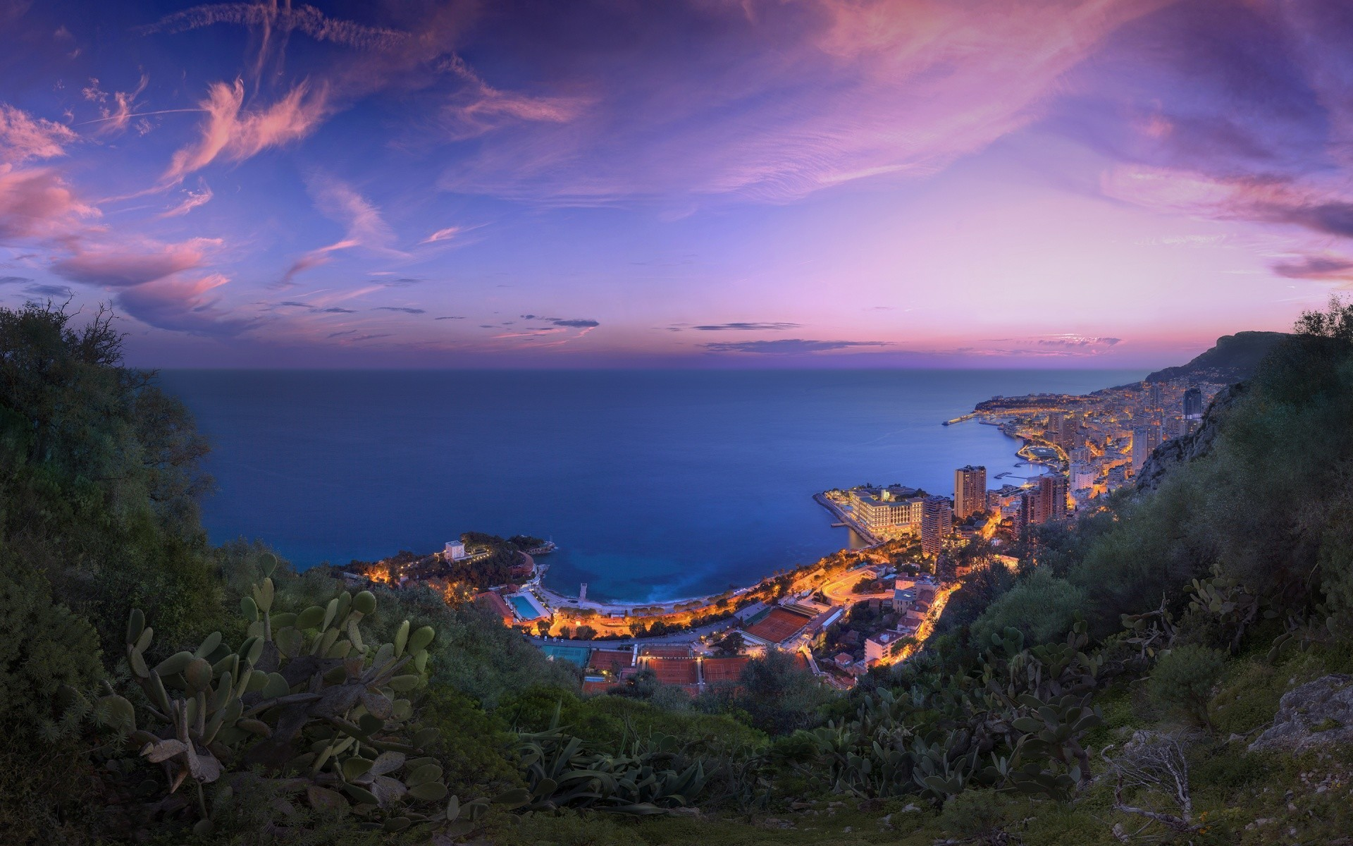 1920x1200 A winter sunset clouds panorama over the Principality of Monaco, taken in  February The original 433 megapixel ultra high resolution photograph is a  180 ...