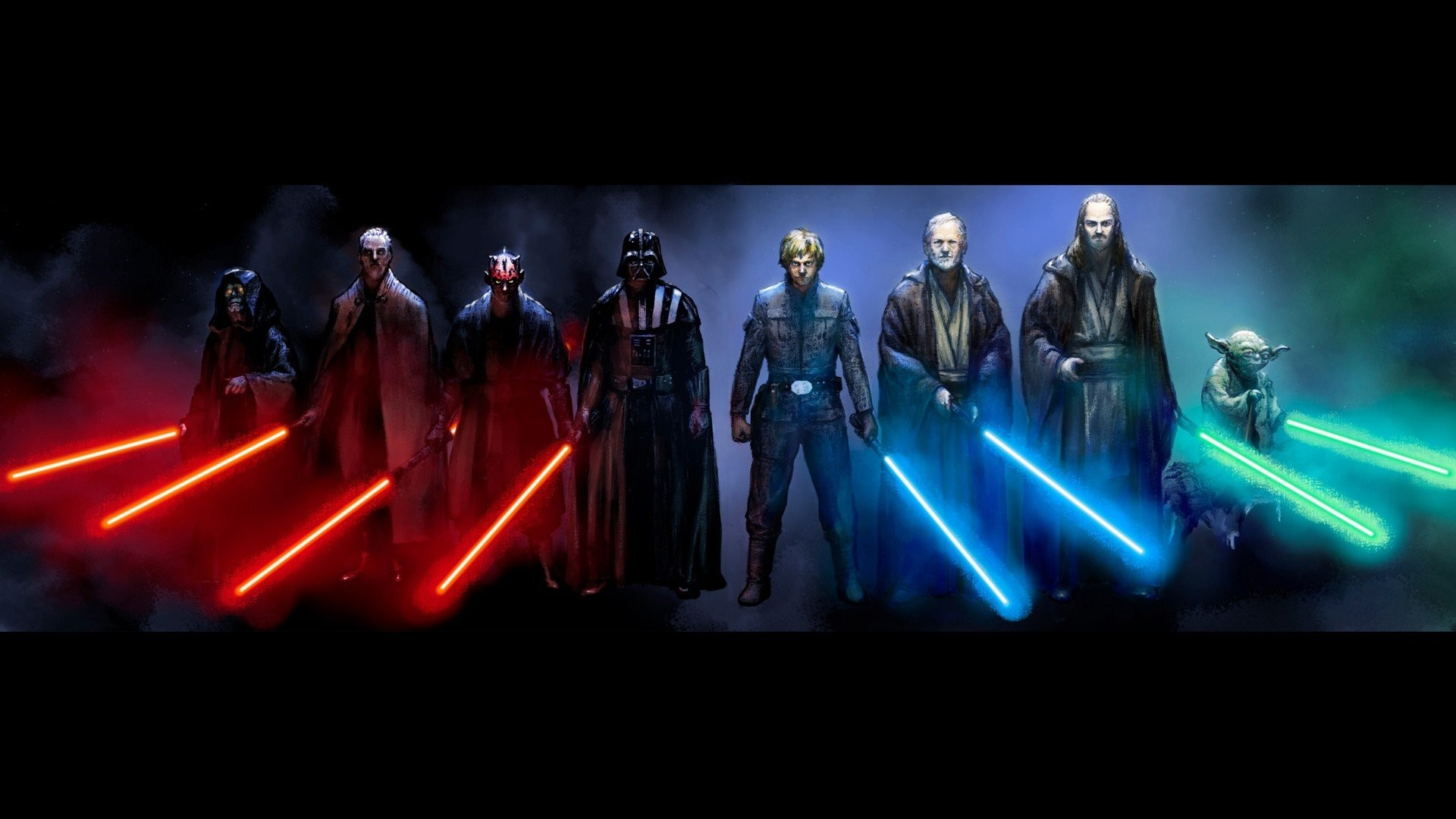 1920x1080 Star Wars Lightsaber Characters  wallpaper