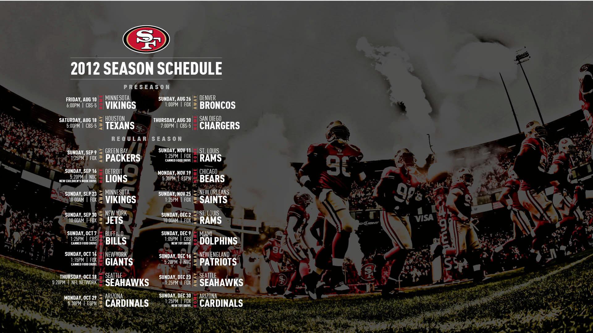 1920x1080 San Francisco 49ers 2017 Schedule Turf Football Logo Wallpaper
