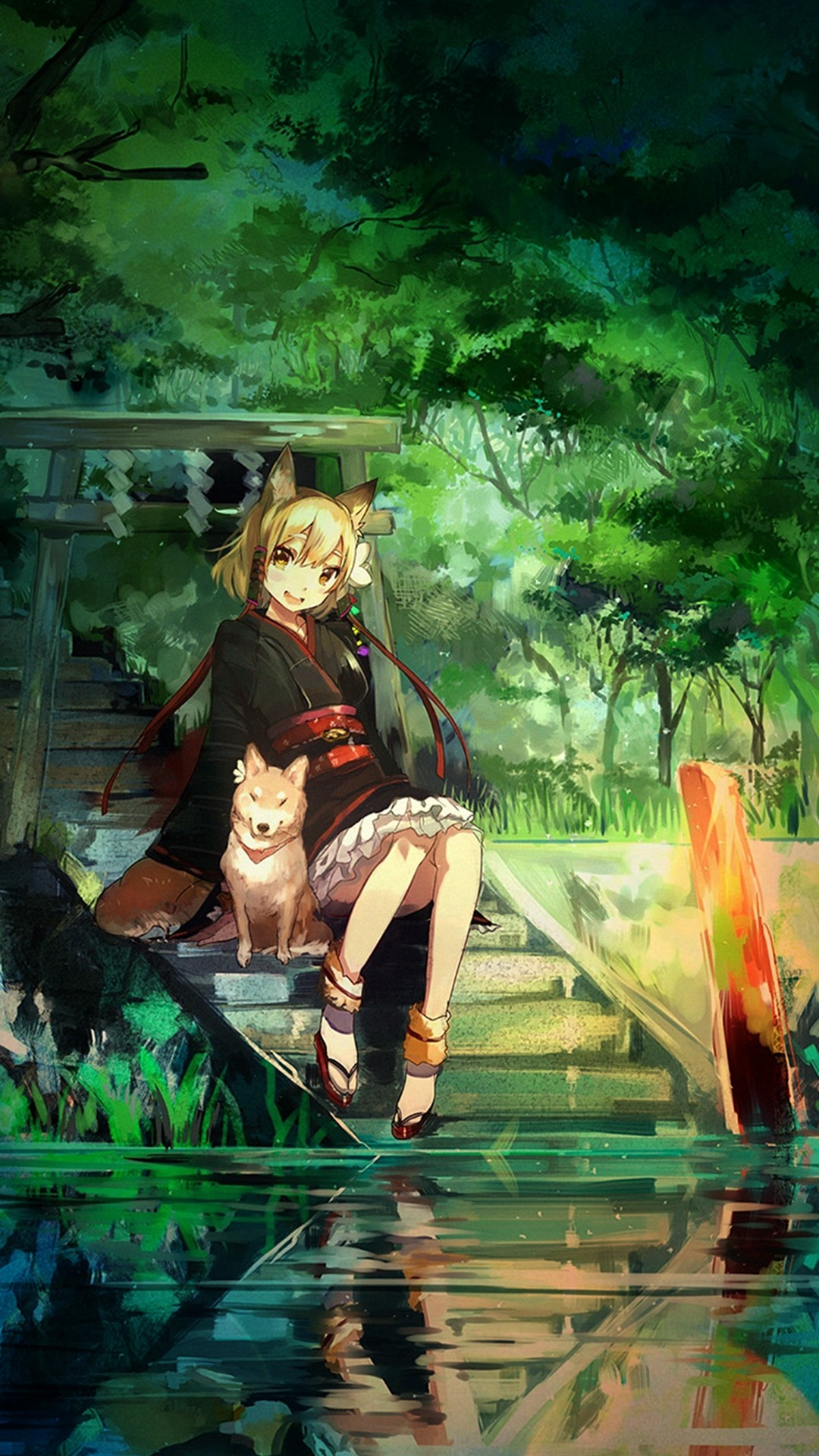1080x1920 Girl And Dog Green Nature Anime Art Illust iPhone 6 plus wallpaper.