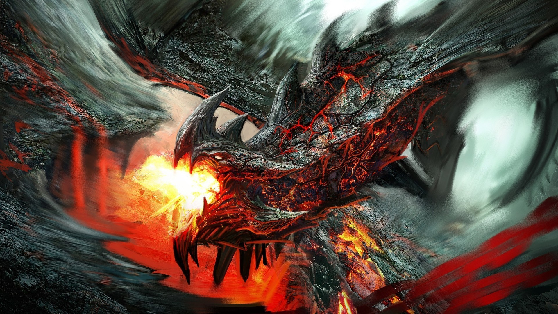 1920x1080 Fire Lava Dragon