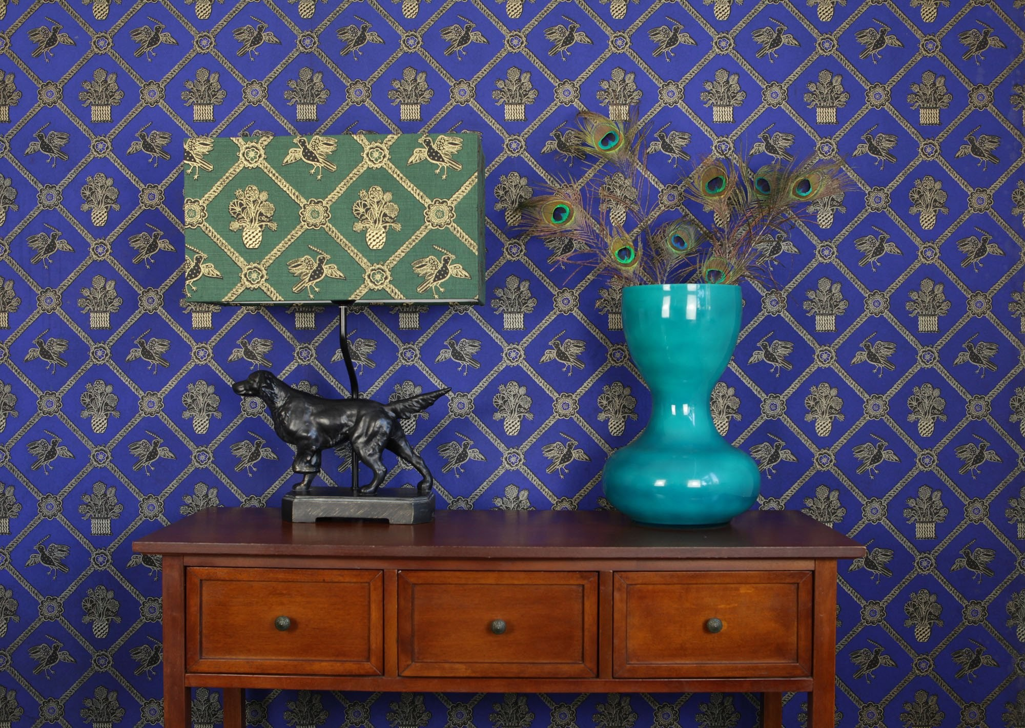 2000x1421 Rope Trellis Wallpaper - Royal Blue / Black / Gold Metallic