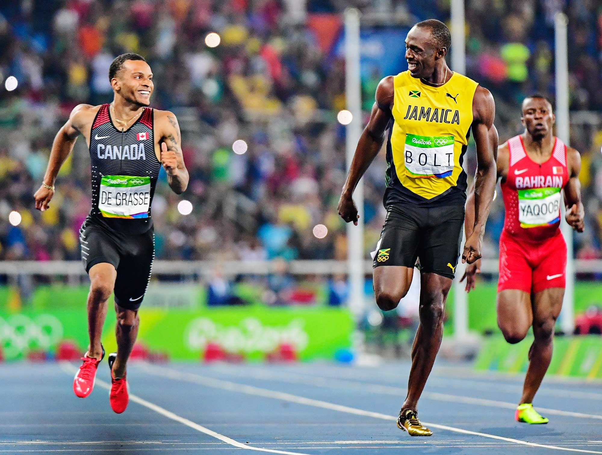 2000x1512 Usain Bolt and Andre de Grasse of Canada having a little fun as they cross  the