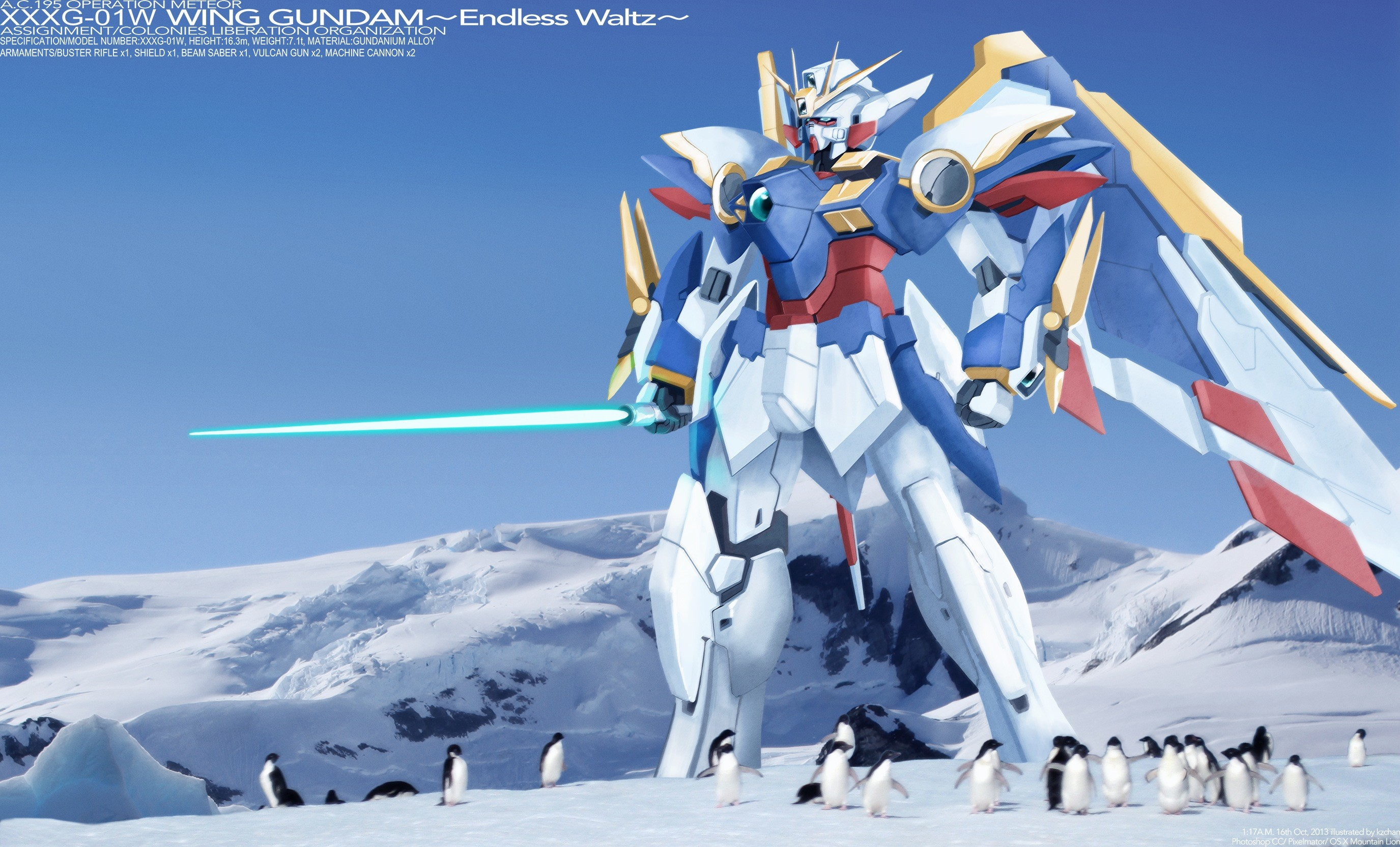 2751x1665 Wallpaper of Wing Gundam hanging out with some Penguins