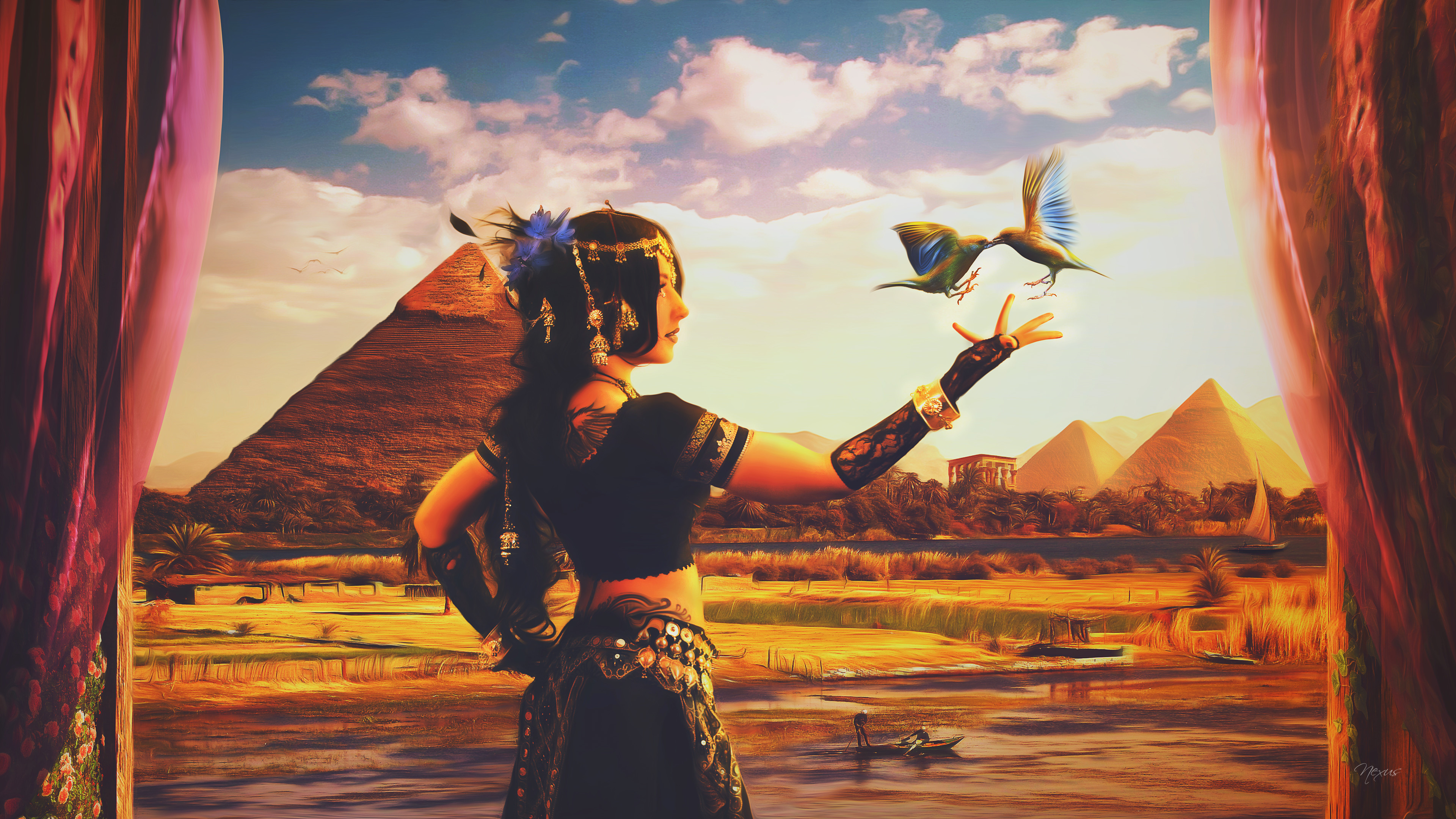3840x2160 Fantasy - Egyptian Ägypten Arabic Vogel Dancer Steppe Digitale Kunst  Fantasy Magisch Nile Orientalisch Pyramid Wallpaper