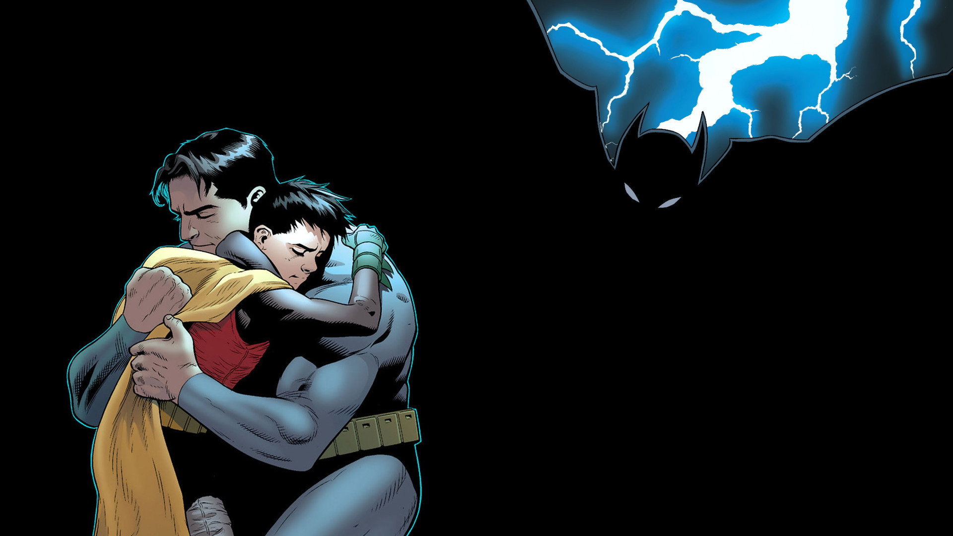 1920x1080 Batman Robin Hug Embrace Lightning Black DC-comics wallpaper .