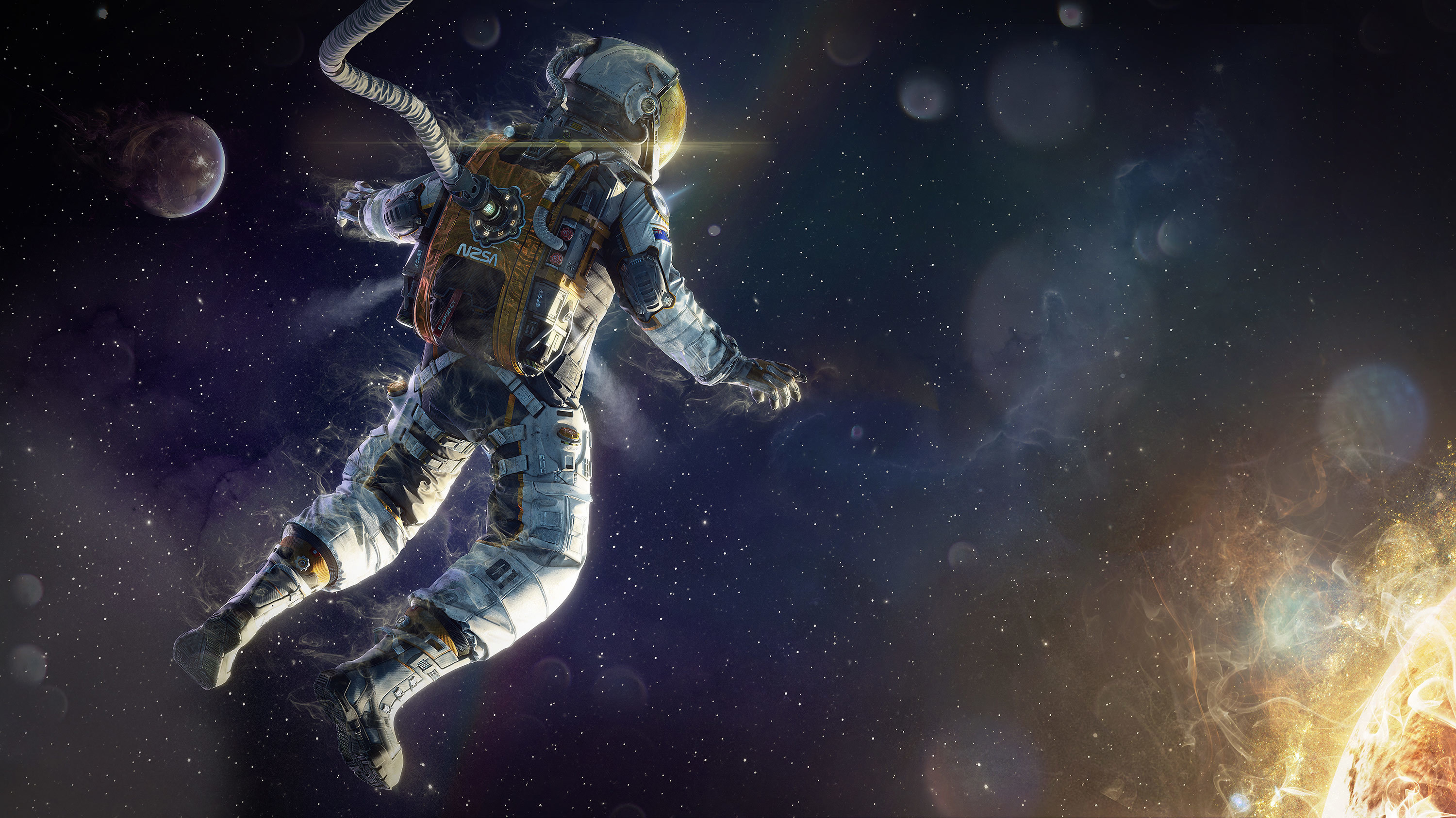 3000x1687 Surreal Astronaut Wallpaper Background ...