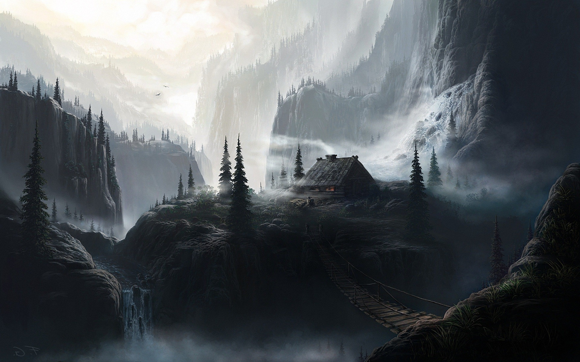 1920x1200 fantasy, backgrounds, wallpaper,landscapes houses, waterfalls, dark, art,  bridges, abstract backgrounds, artwork,download, widescreen Wallpaper HD