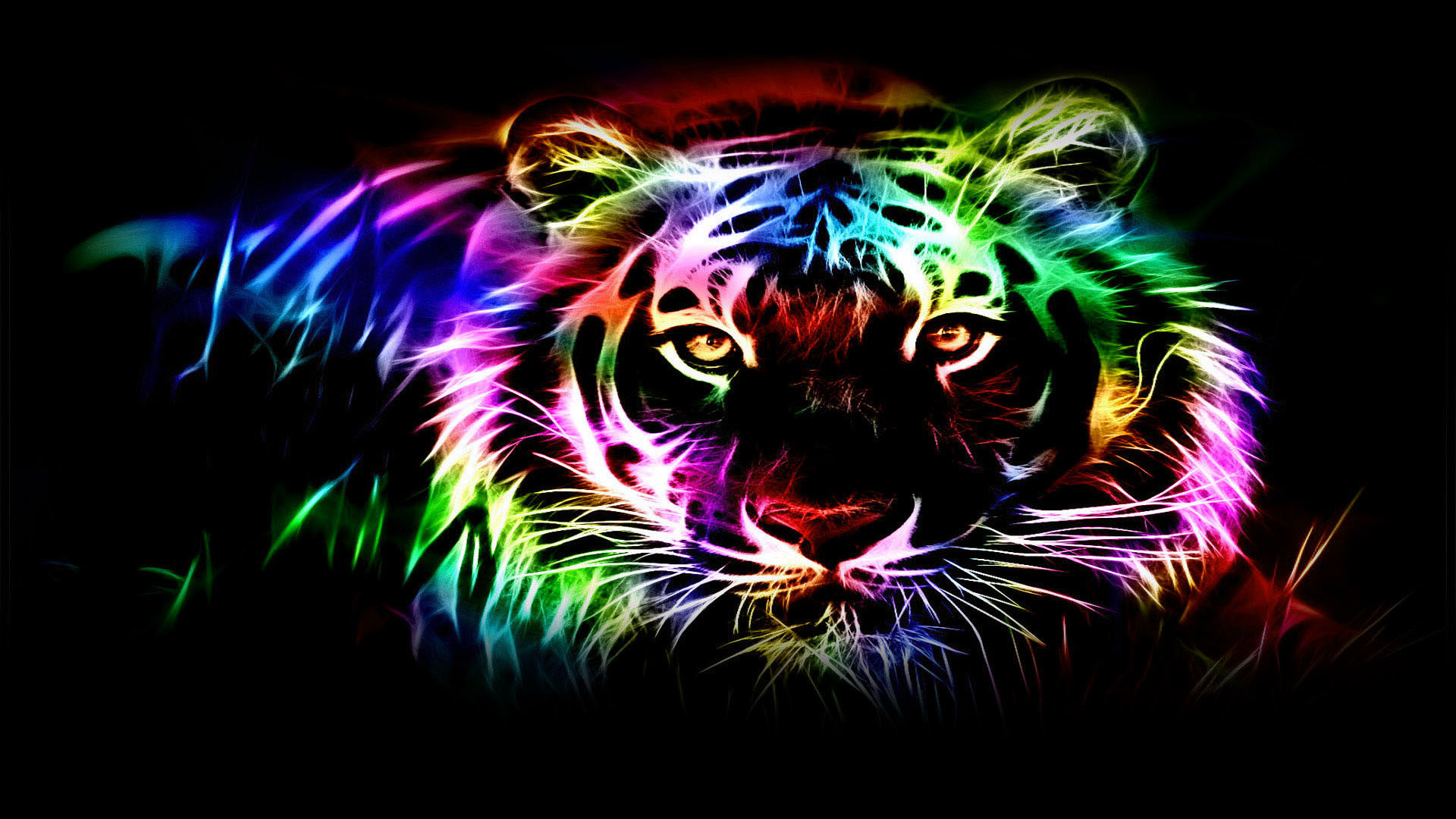 1920x1080 Tiger Neon Wallpapers. Tiger Abstract Picture