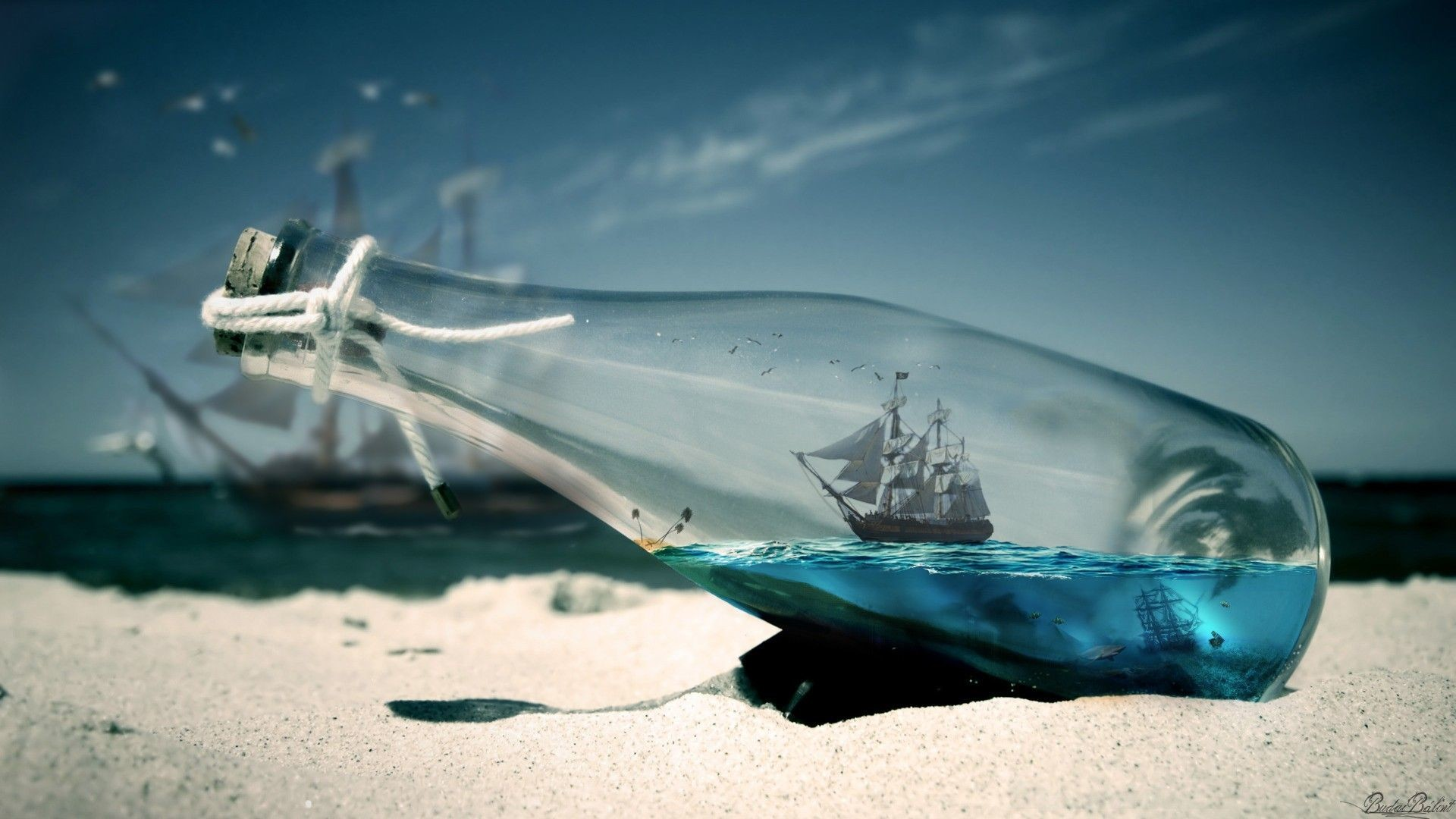 1920x1080 water sea bottles ships Pirates of the Caribbean - Wallpaper (#1664888) /  Wallbase.cc