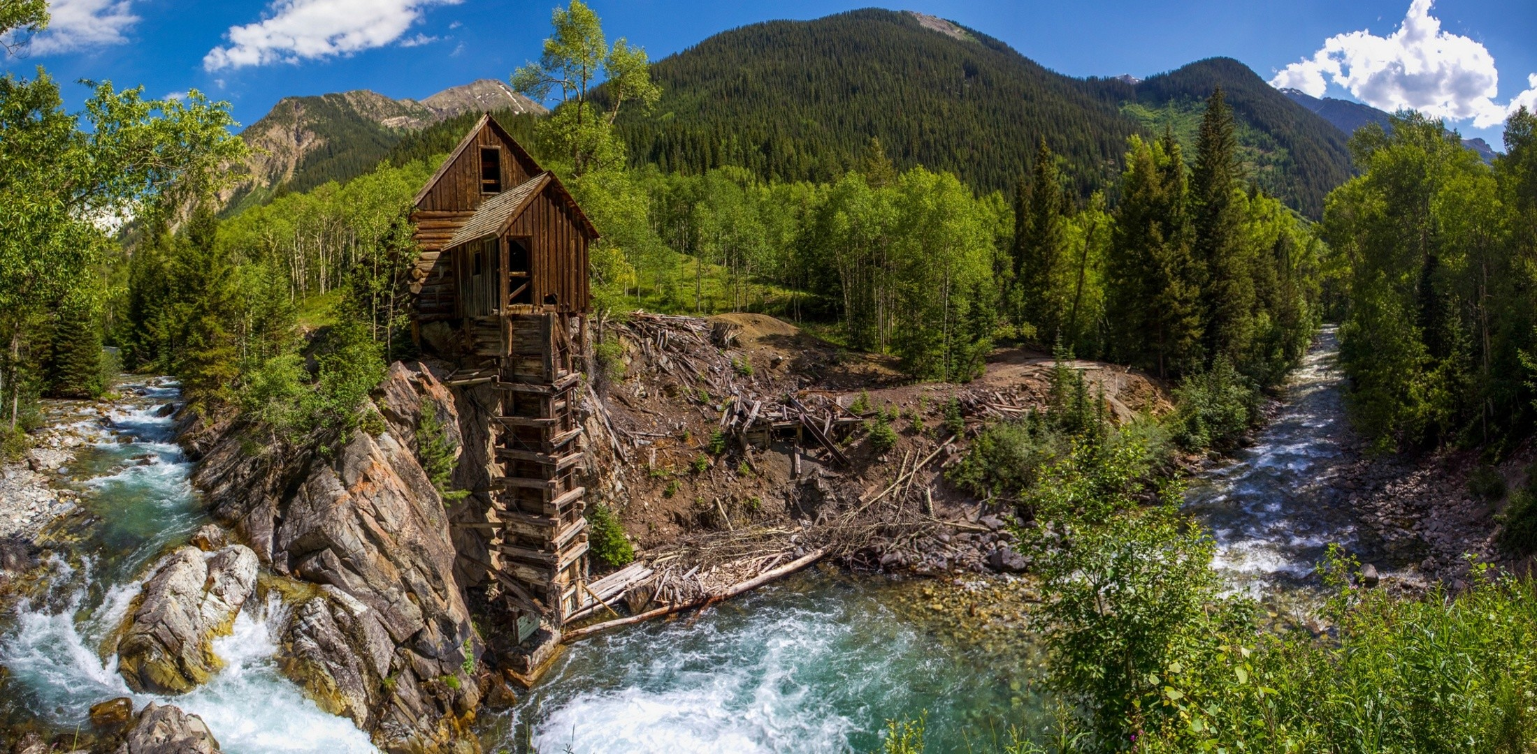 2199x1080 Crystal Colorado a water mill river forest trees mountains panorama  wallpaper |  | 169320 | WallpaperUP