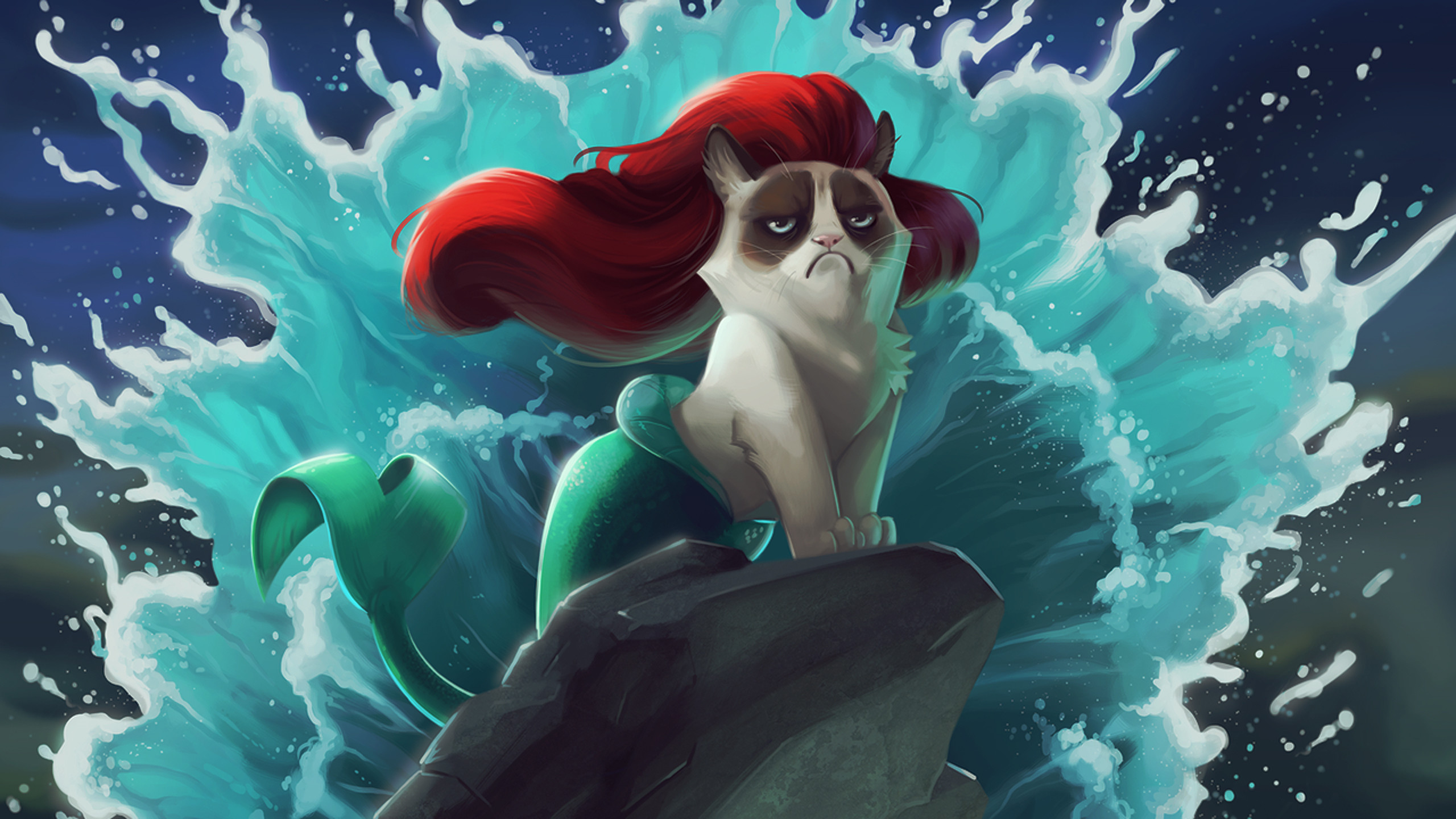 2560x1440 Wallpaper Cat, Mermaid, Cartoon, Grumpy cat