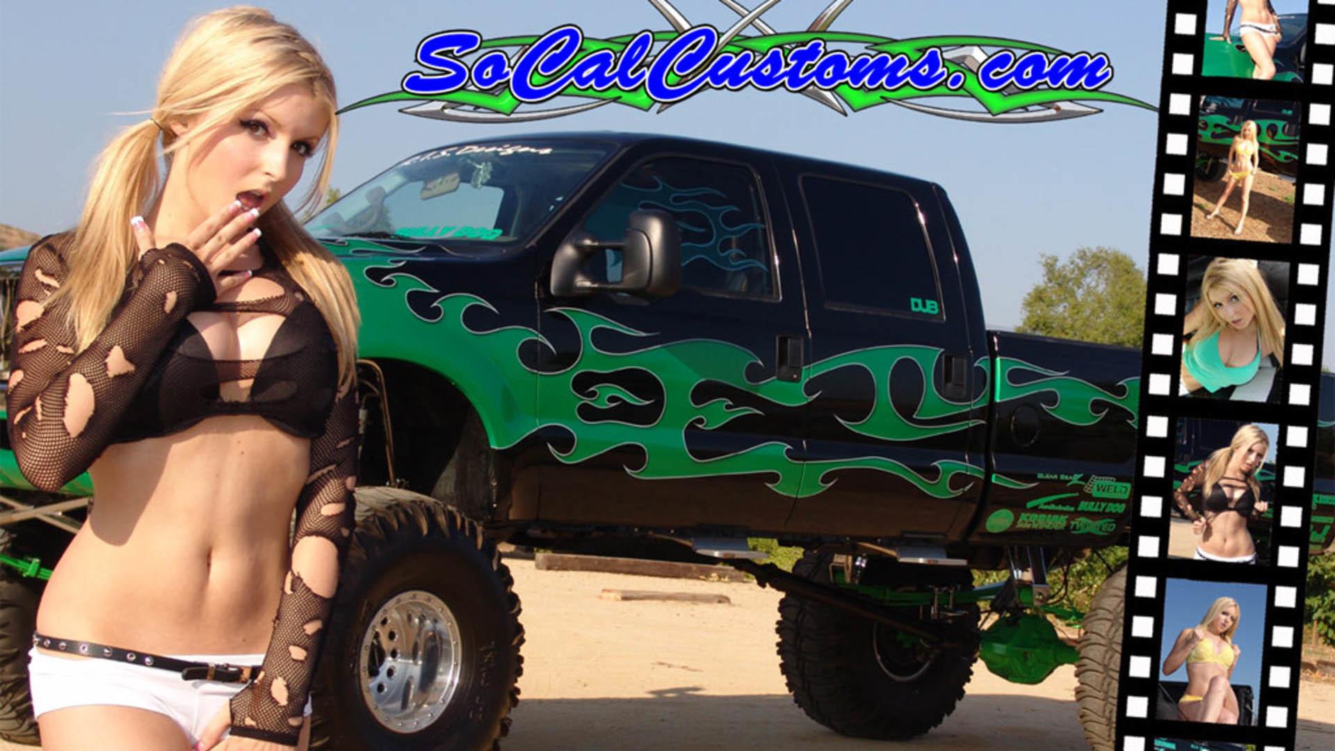 1920x1200 Shantal women females blondes lowrider custom classic truck wallpaper .