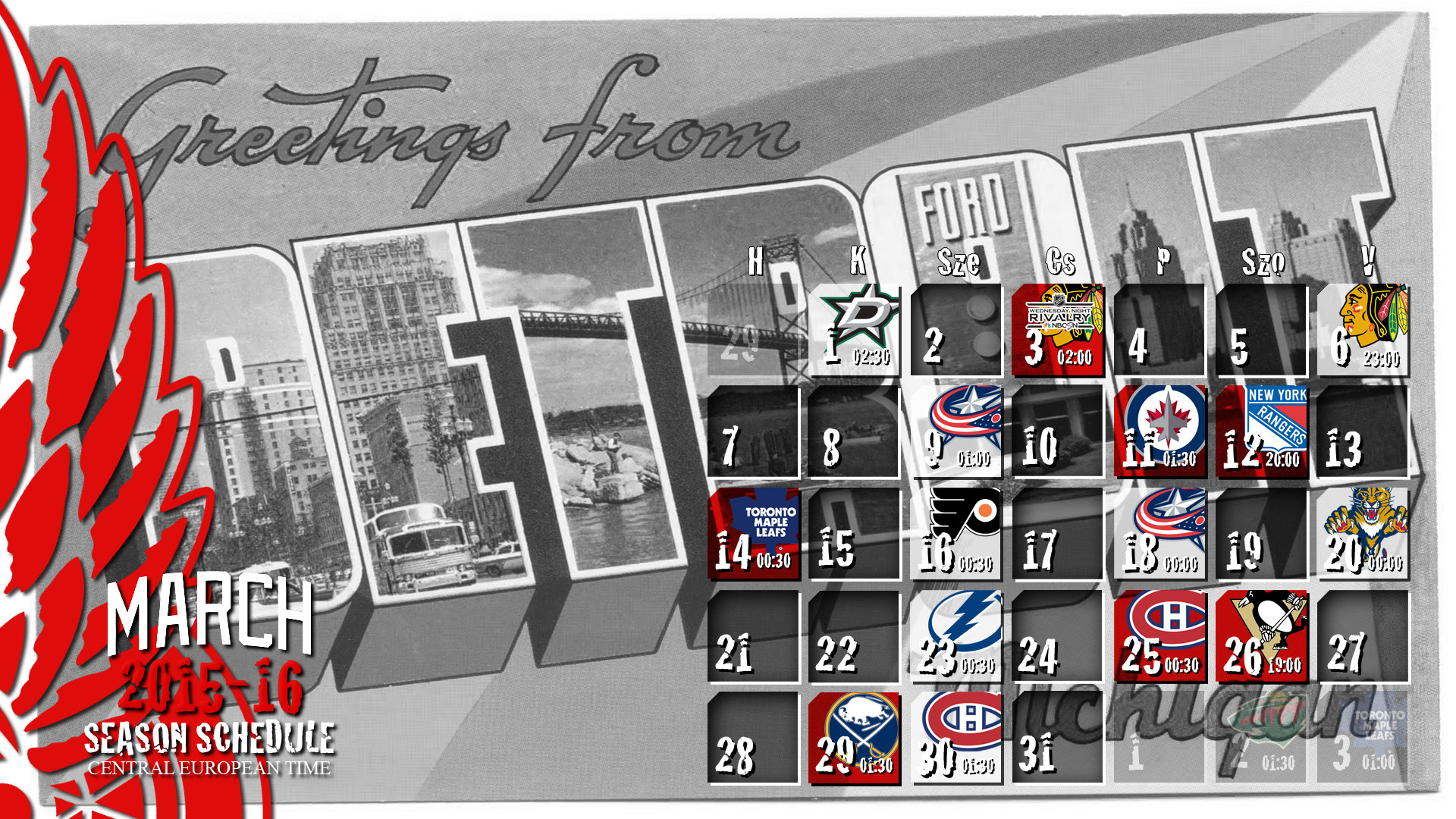 1920x1080 Fan art wallpaper of the 2015-16 regular season schedule of the Detroit Red  Wings